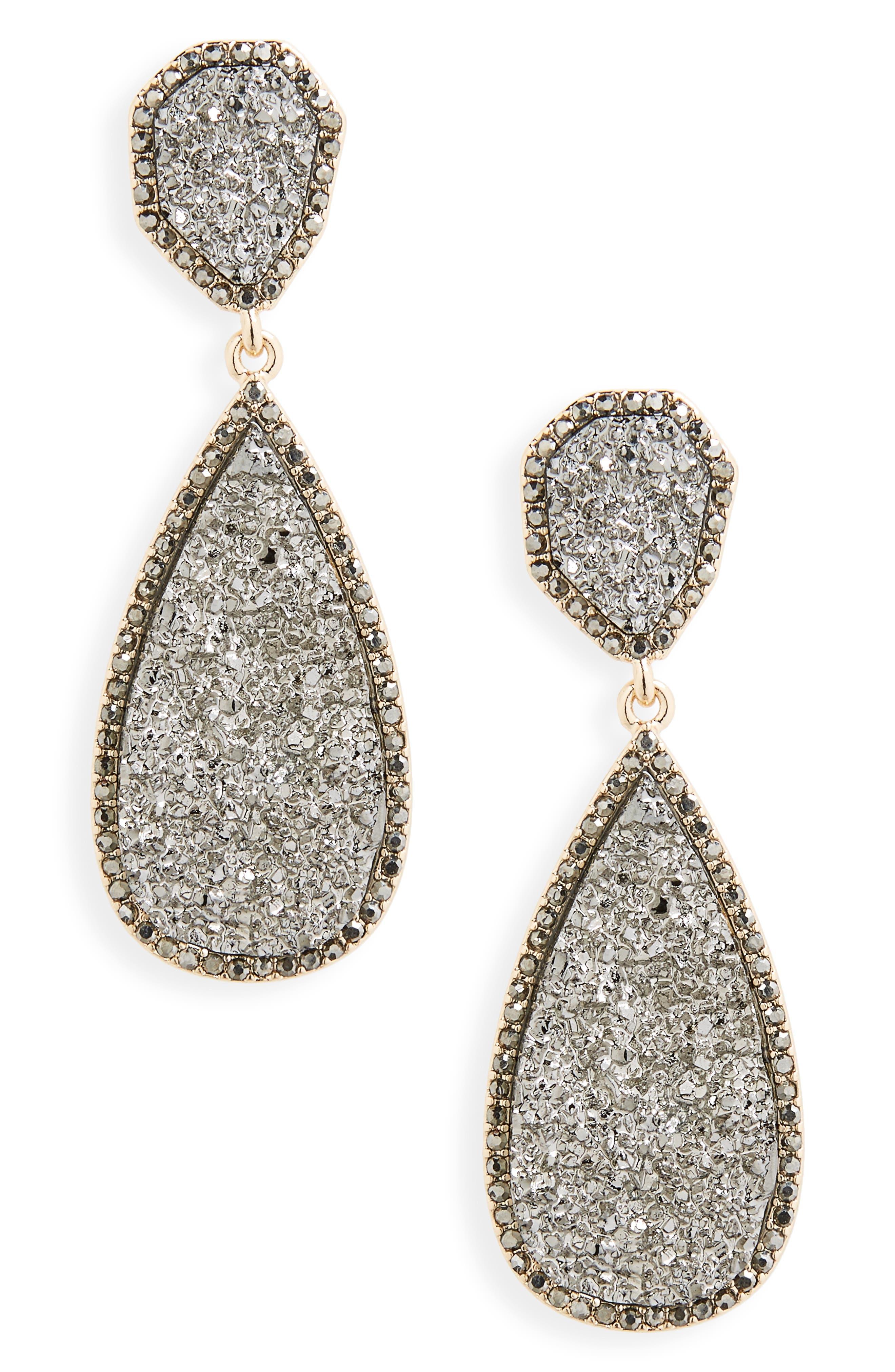 BAUBLEBAR Moonlight Drop Earrings, Main, color, MEDIUM GREY