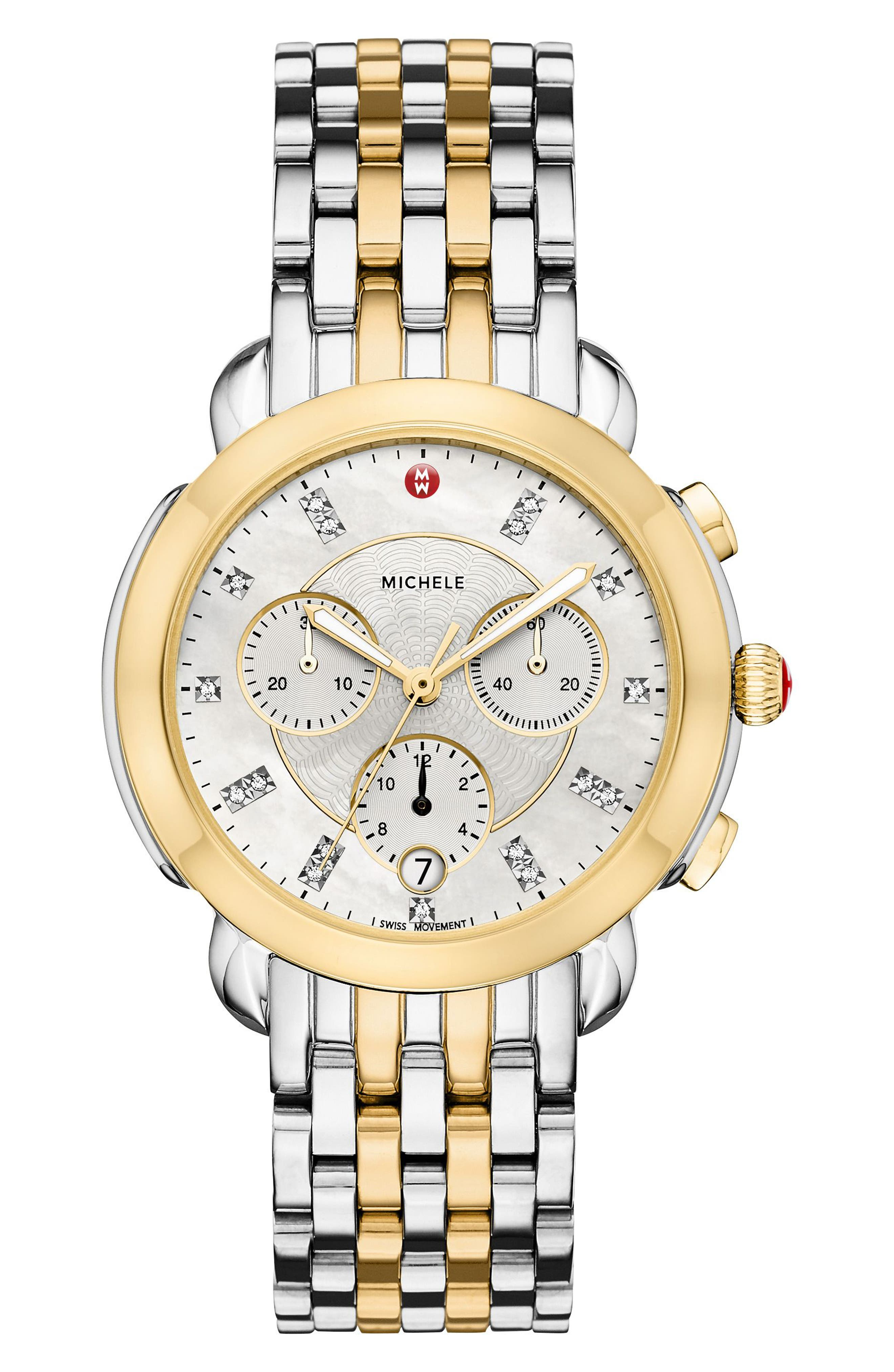 MICHELE, Sidney Chronograph Diamond Watch Head, 38mm, Alternate thumbnail 3, color, GOLD/ MOP/ SILVER