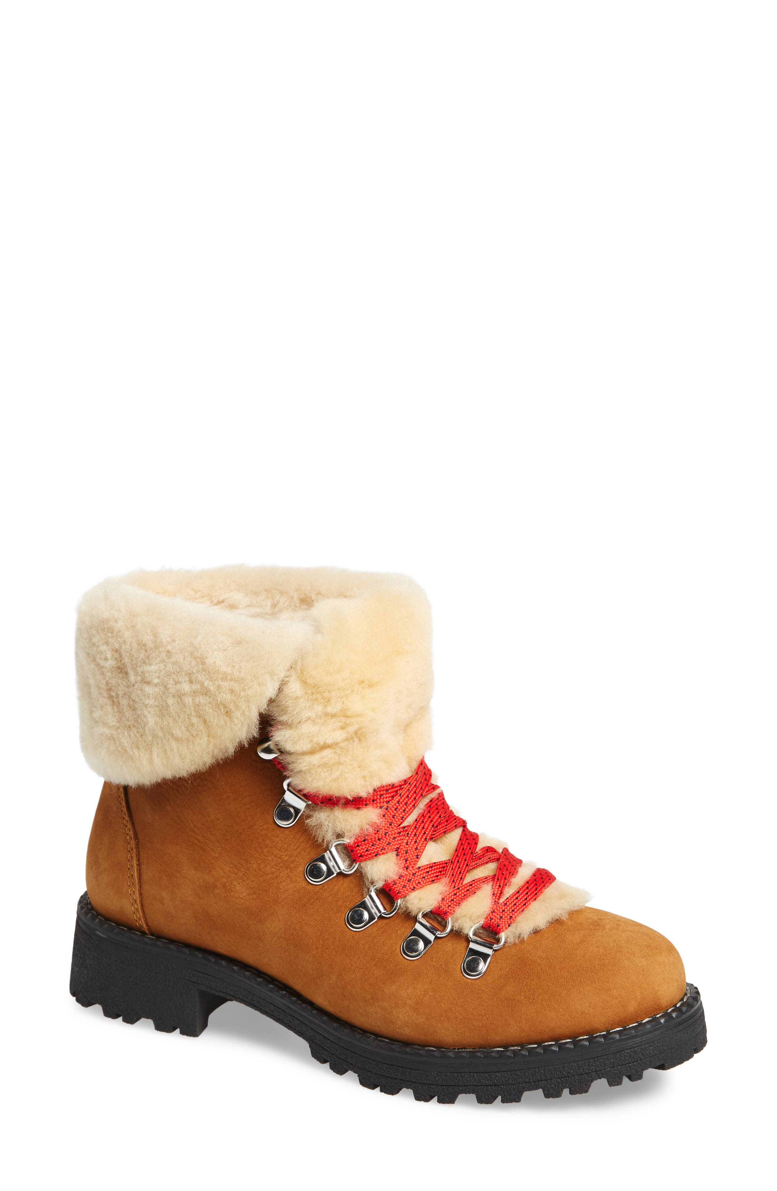 J.CREW, Nordic Genuine Shearling Cuff Winter Boot, Main thumbnail 1, color, GLAZED PECAN LEATHER