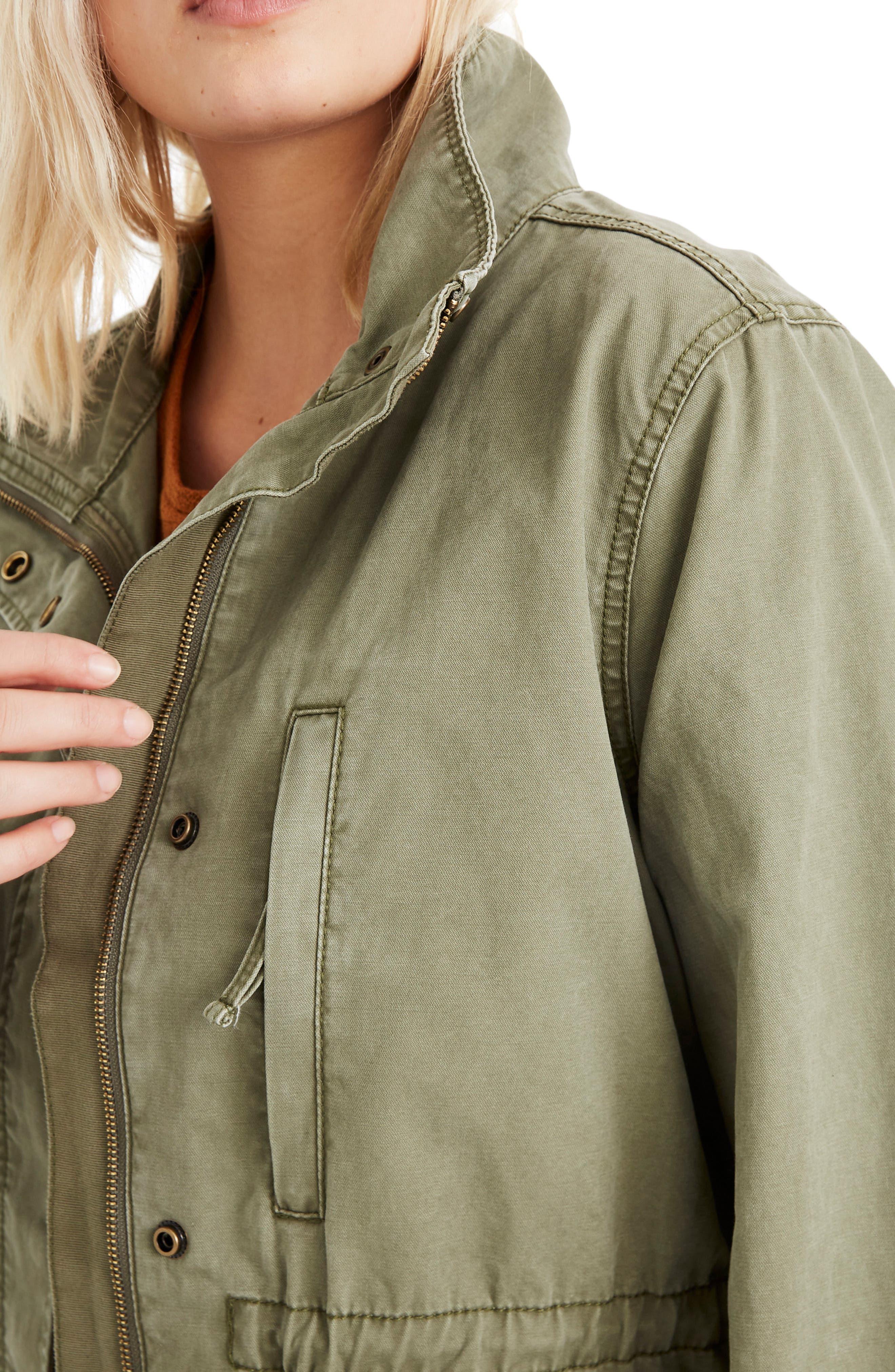 MADEWELL, Surplus Cotton Jacket, Alternate thumbnail 8, color, DESERT OLIVE