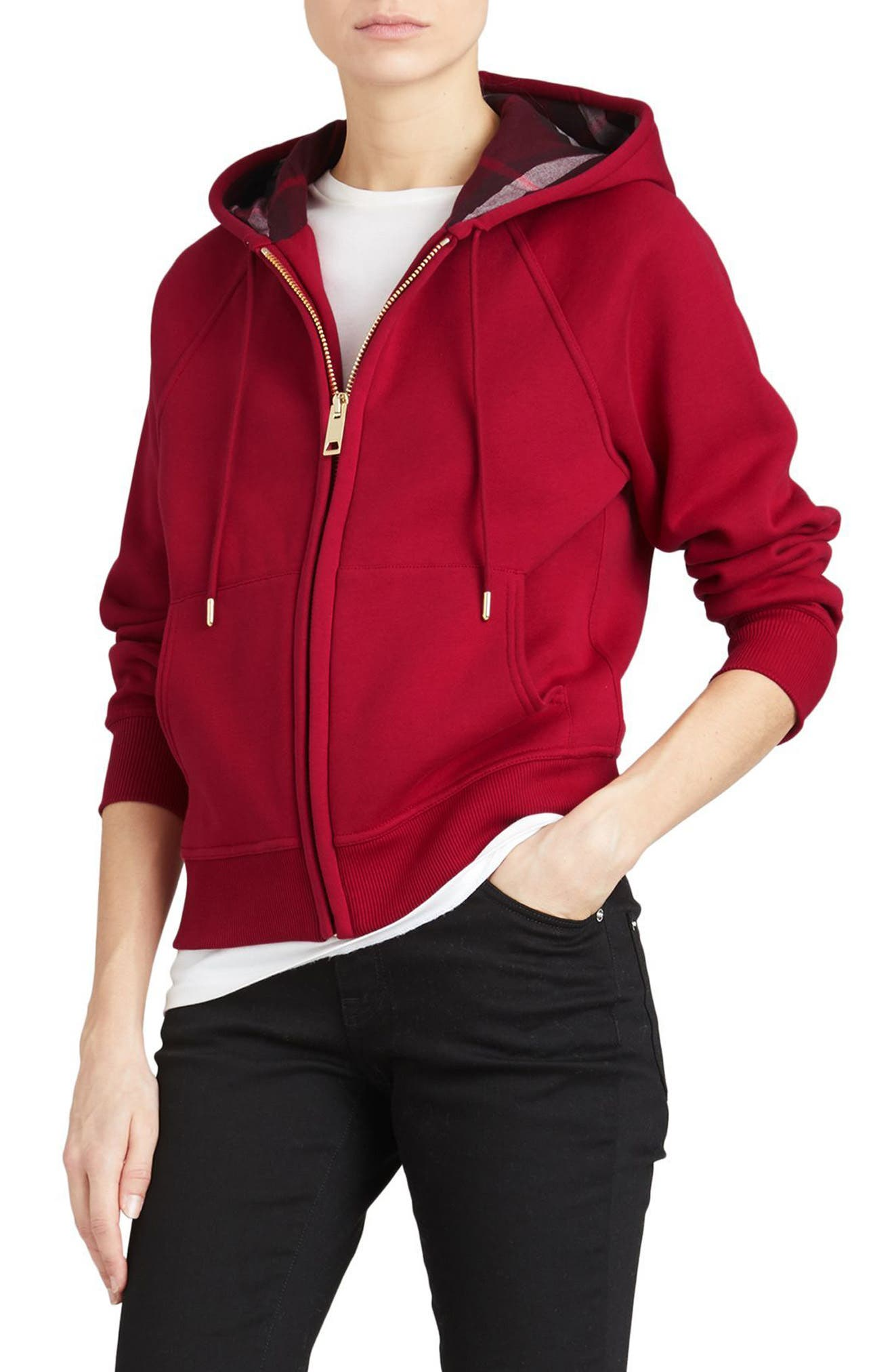 BURBERRY, Check Print Hoodie, Alternate thumbnail 3, color, PARADE RED