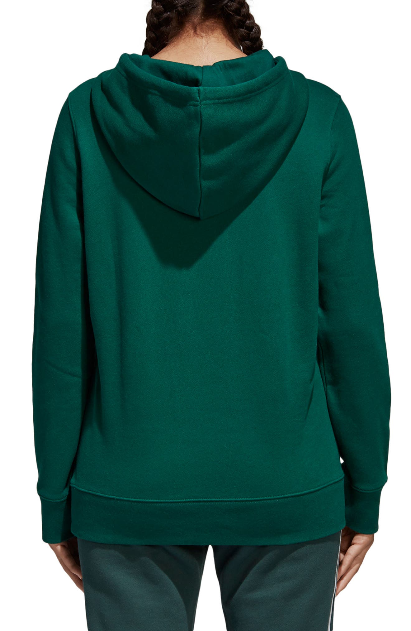 ADIDAS ORIGINALS, adidas Trefoil Logo Hoodie, Alternate thumbnail 2, color, COLLEGIATE GREEN