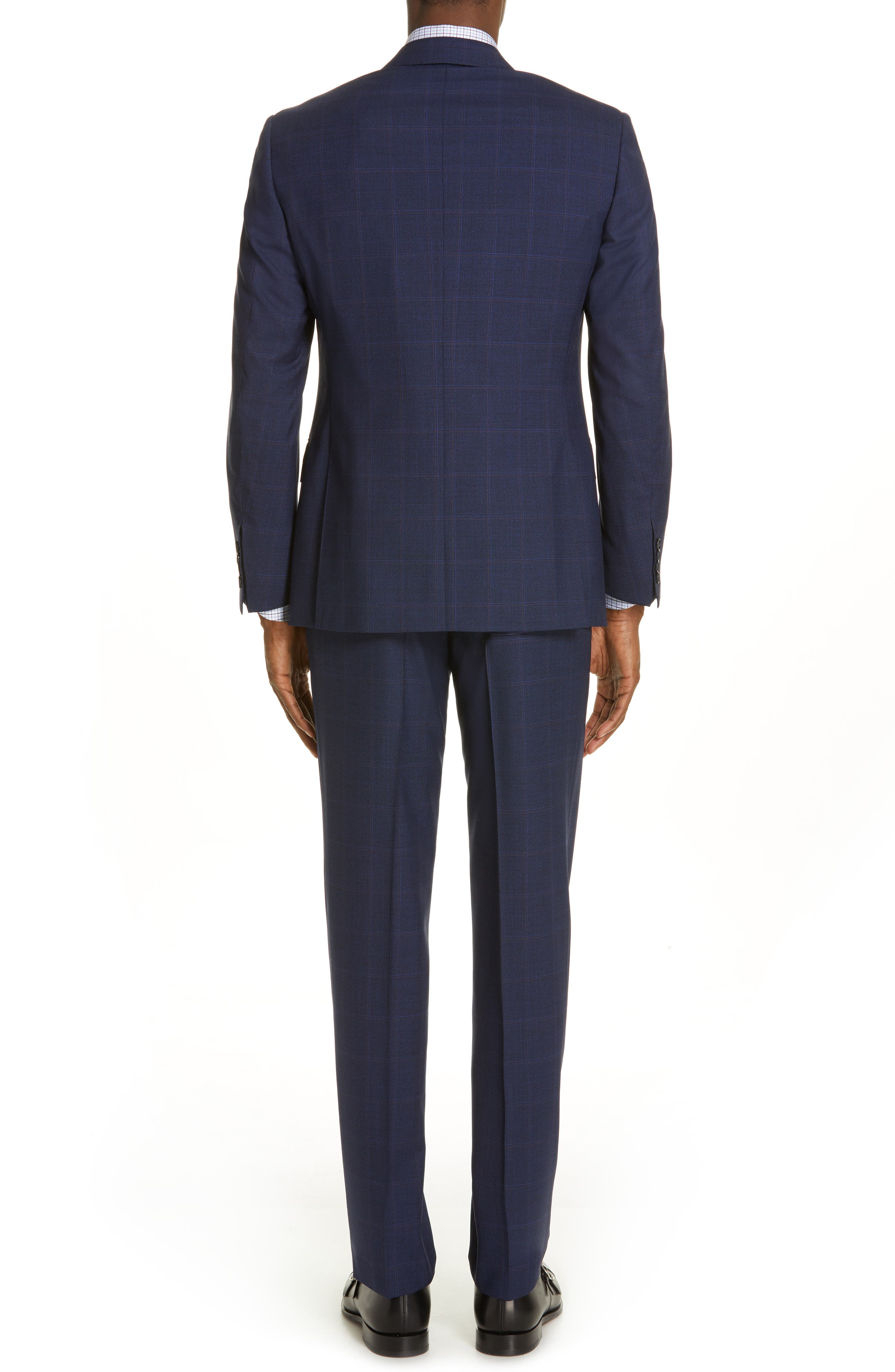 CANALI, Siena Soft Classic Fit Plaid Wool Suit, Alternate thumbnail 2, color, NAVY