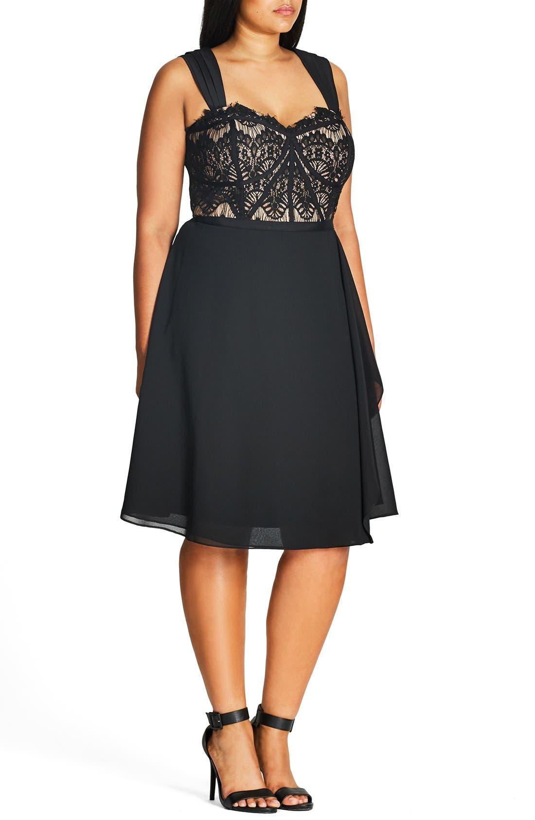 CITY CHIC, 'Eyelash Evie' Lace & Chiffon Cocktail Dress, Alternate thumbnail 4, color, BLACK