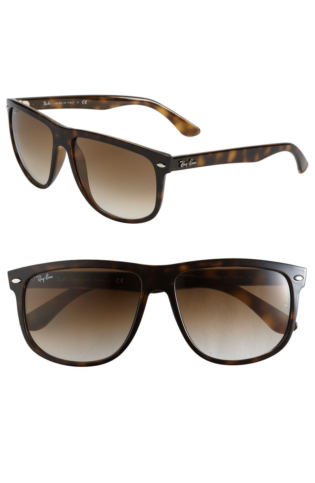 RAY-BAN, Boyfriend 60mm Flat Top Sunglasses, Main thumbnail 1, color, TORTOISE GRADIENT