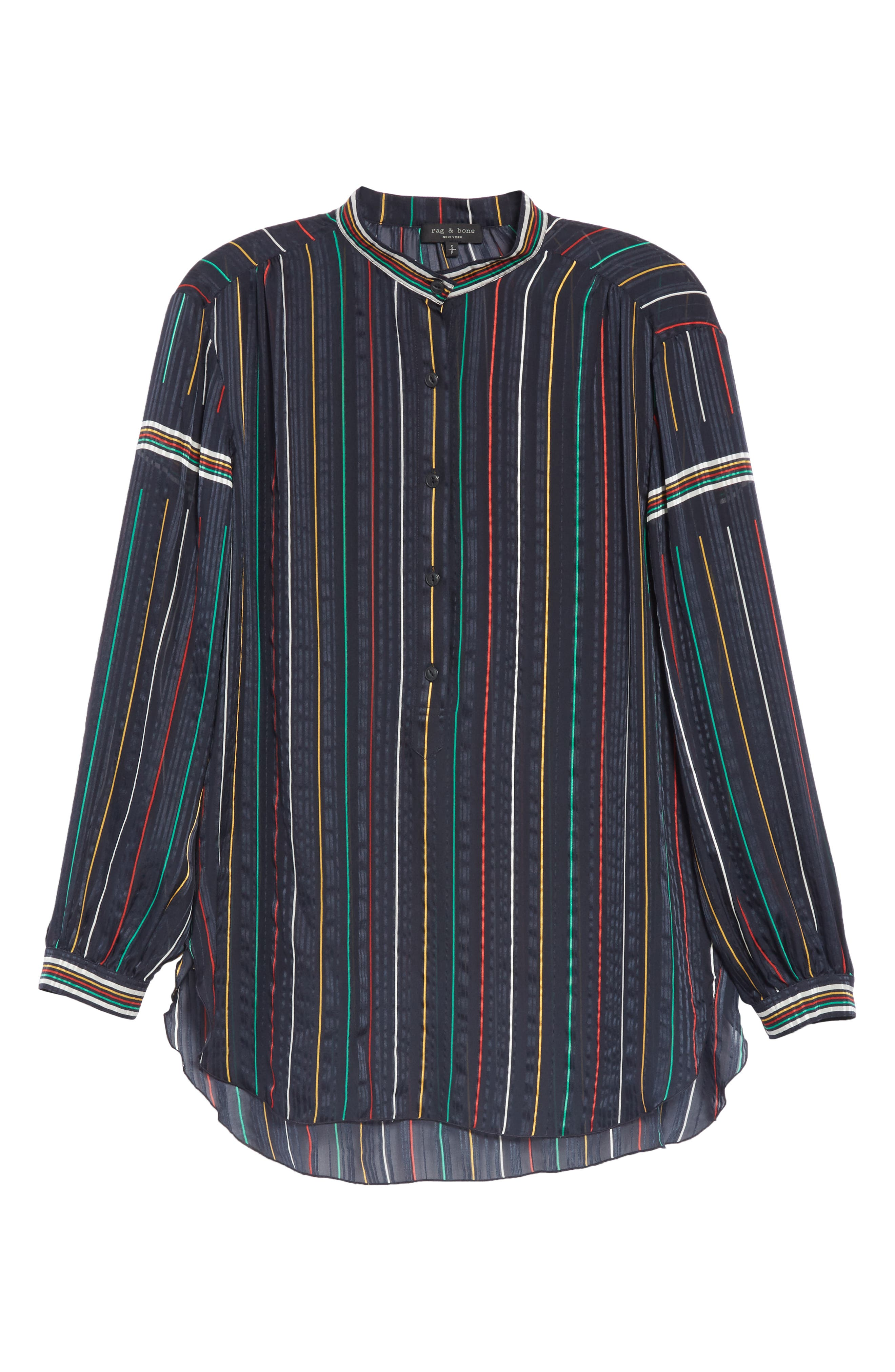 RAG & BONE, Austin Stripe Silk Shirt, Alternate thumbnail 6, color, DENIM BLUE