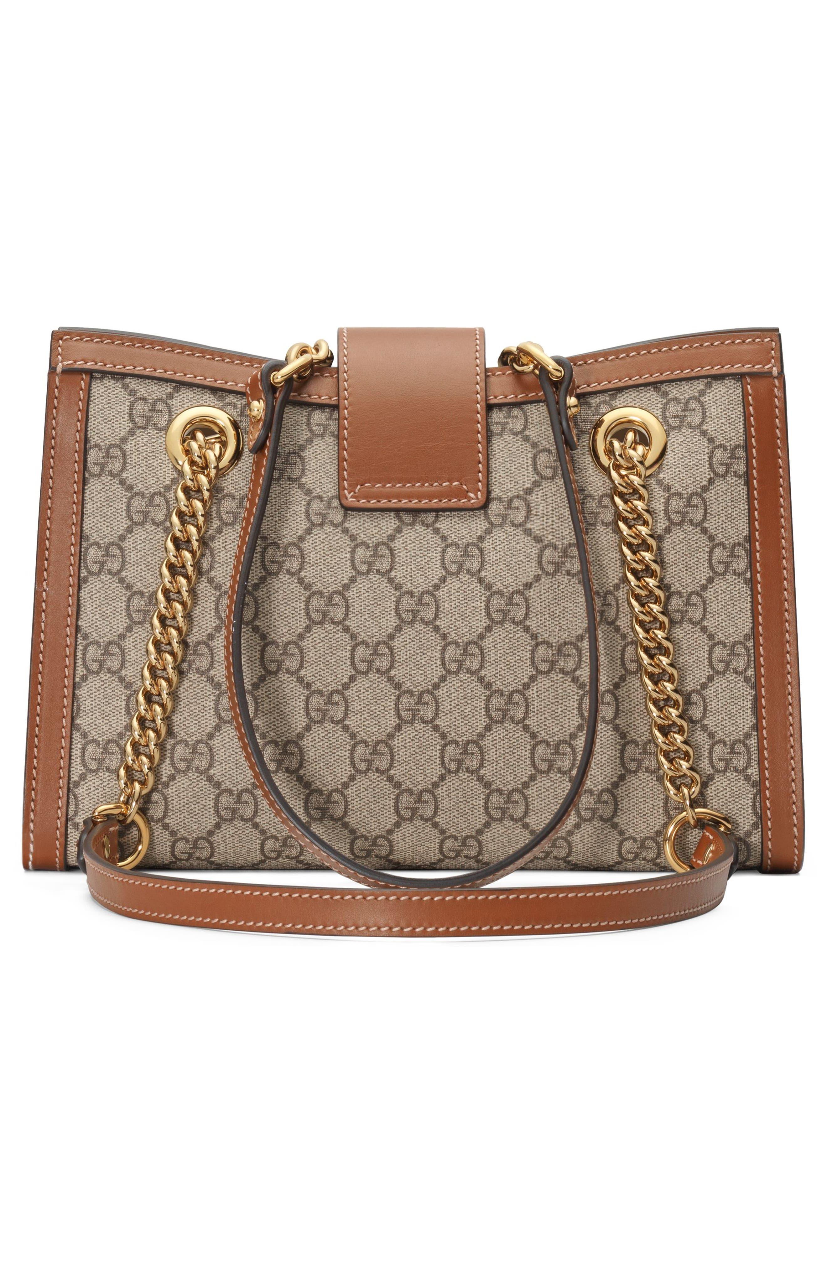 GUCCI, Small Padlock GG Supreme Shoulder Bag, Alternate thumbnail 2, color, BEIGE EBONY/ TUSCANY
