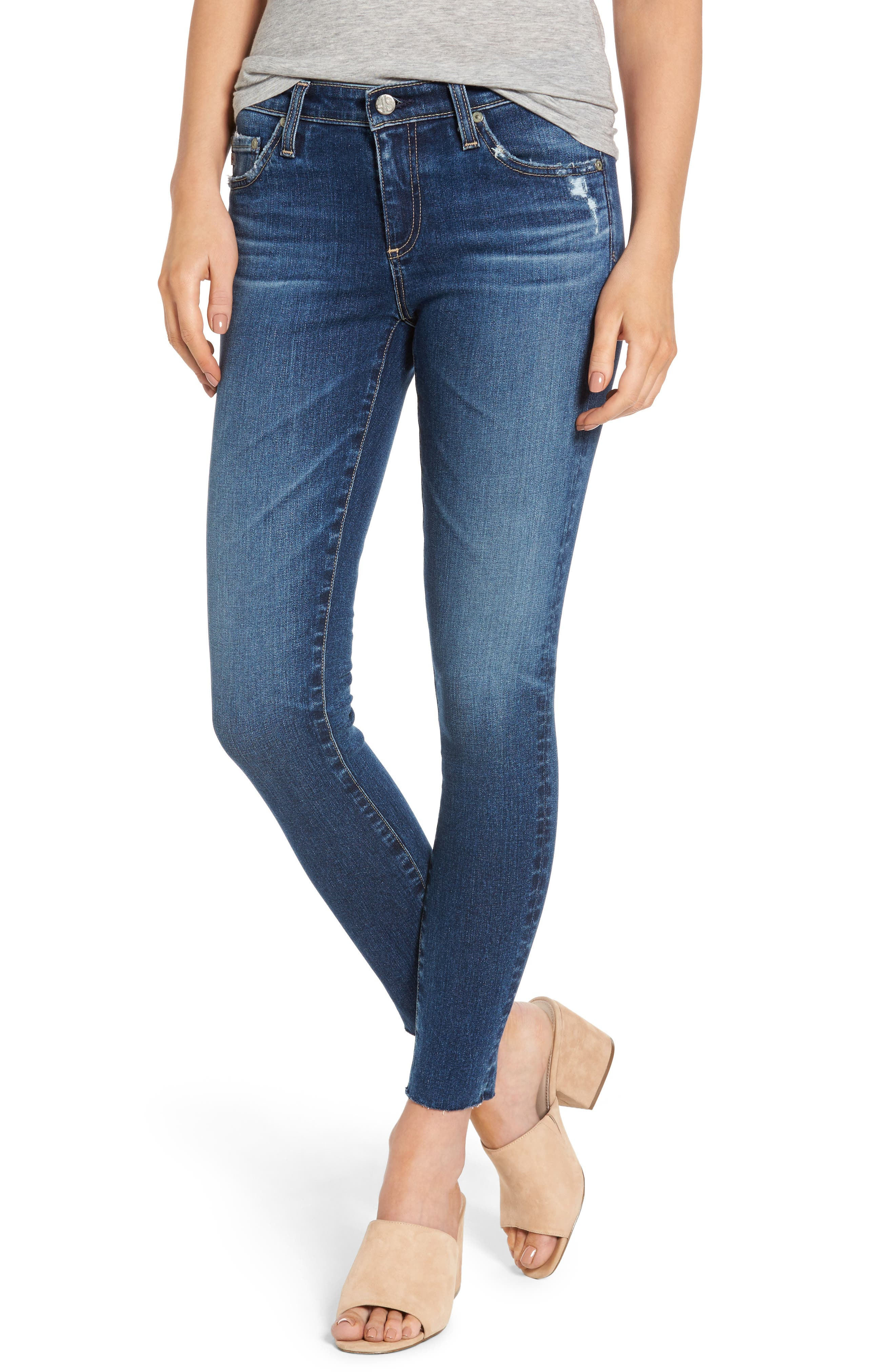 AG The Legging Raw Hem Ankle Skinny Jeans, Main, color, 450