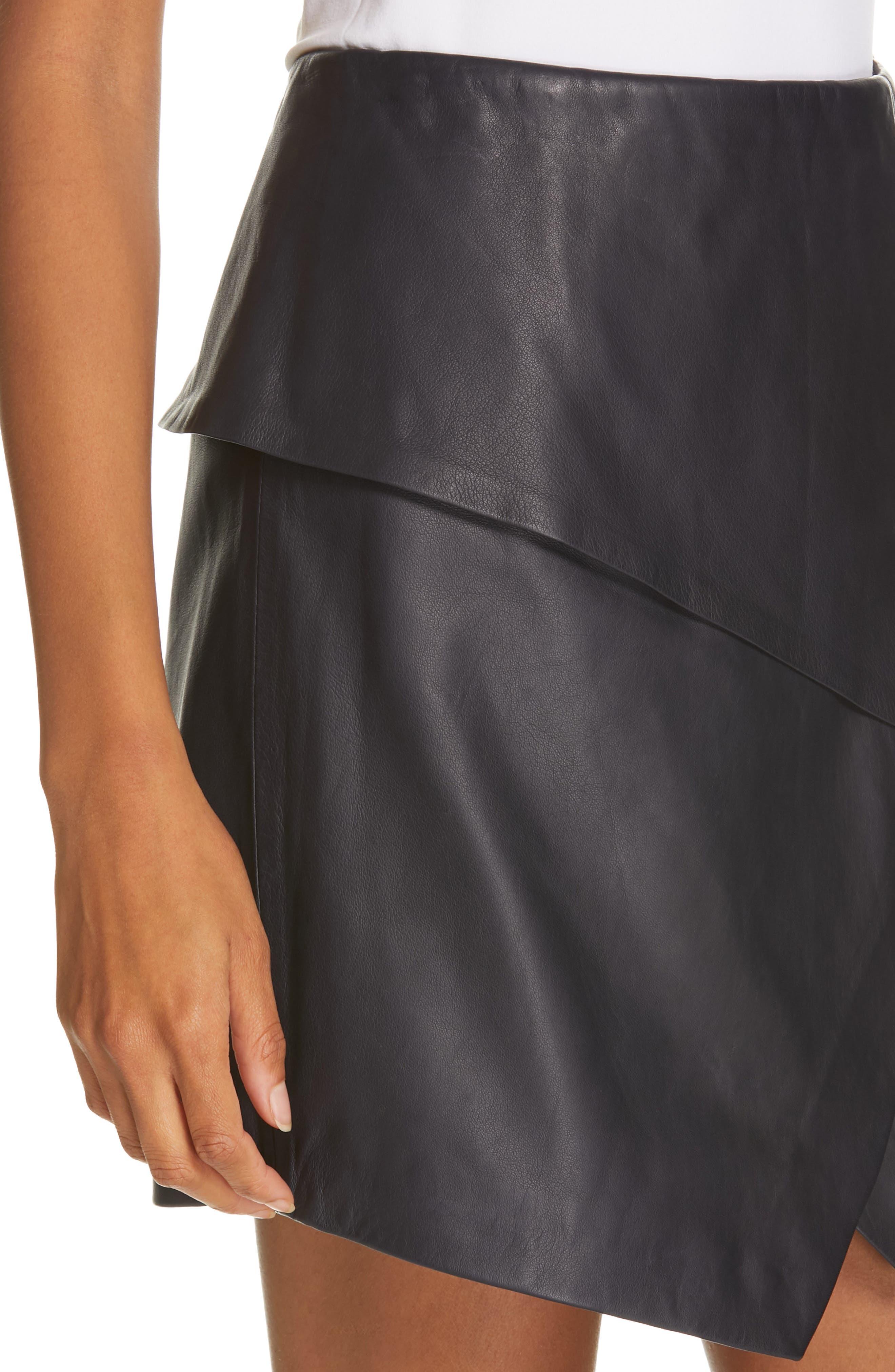 JOIE, Akirako Leather Miniskirt, Alternate thumbnail 4, color, MIDNIGHT