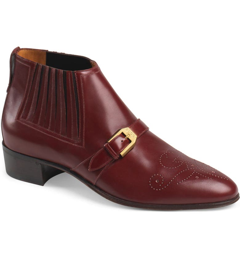 eb74040c4 Gucci Men's Leather Ankle Boot With G Brogue In Red | ModeSens