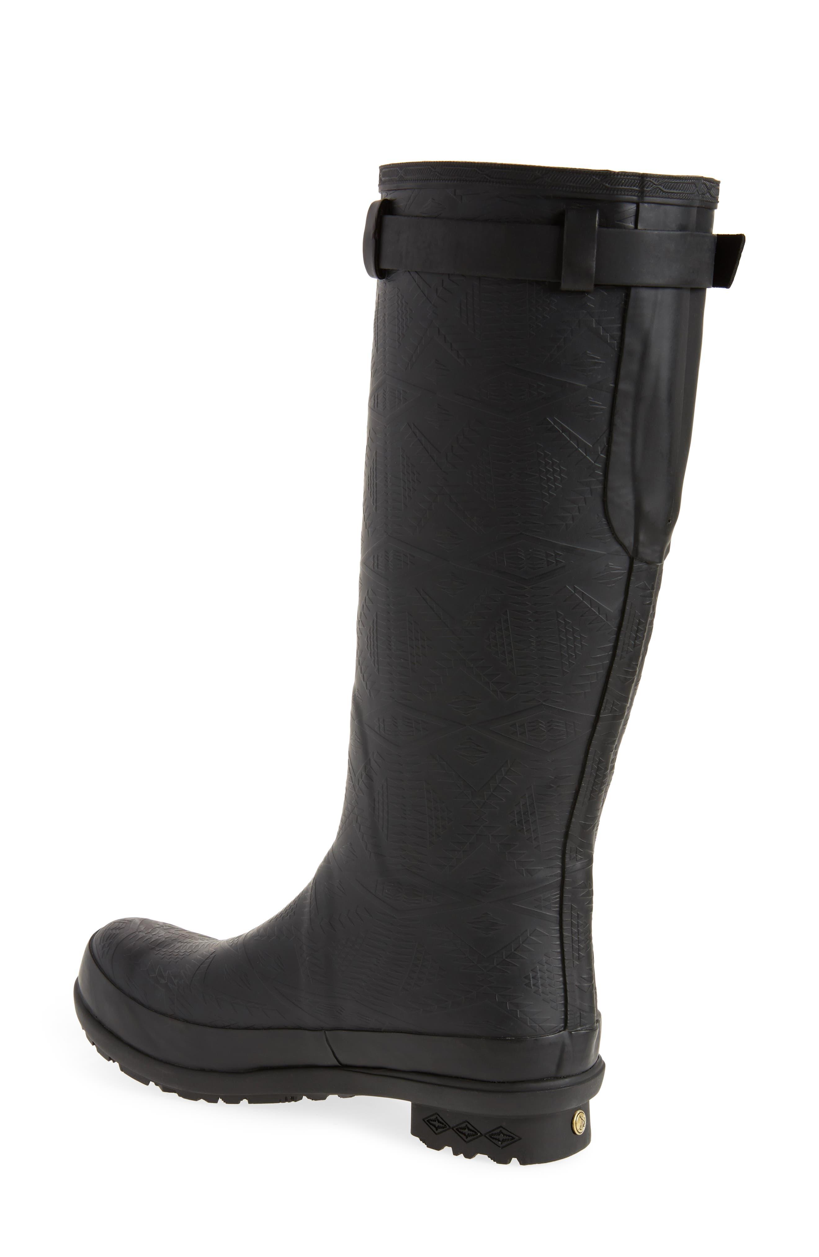 PENDLETON, Embossed Tall Waterproof Rain Boot, Alternate thumbnail 2, color, BLACK