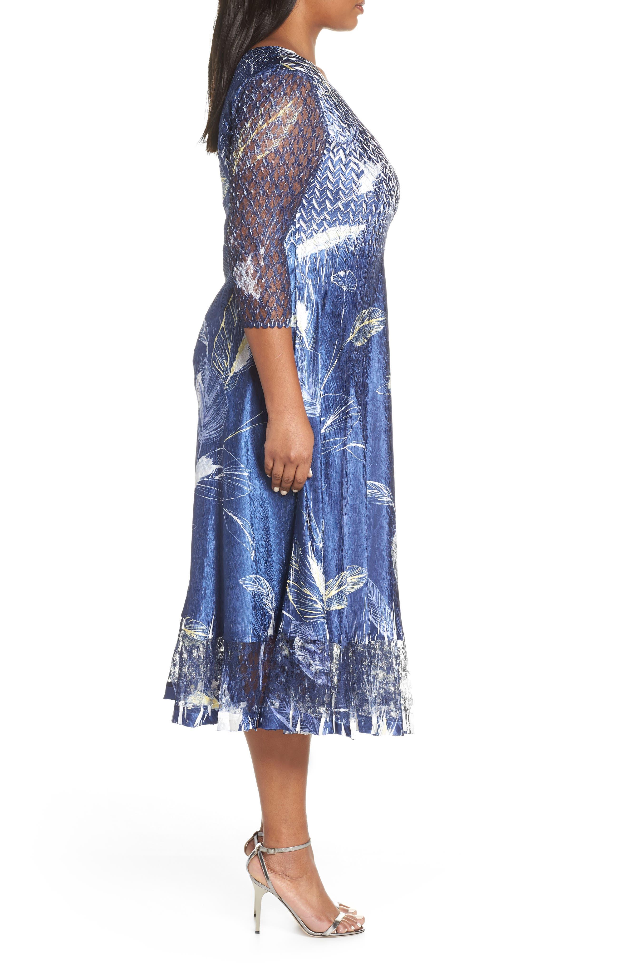 KOMAROV, Print Charmeuse A-Line Dress, Alternate thumbnail 4, color, INDIGO TROPIC