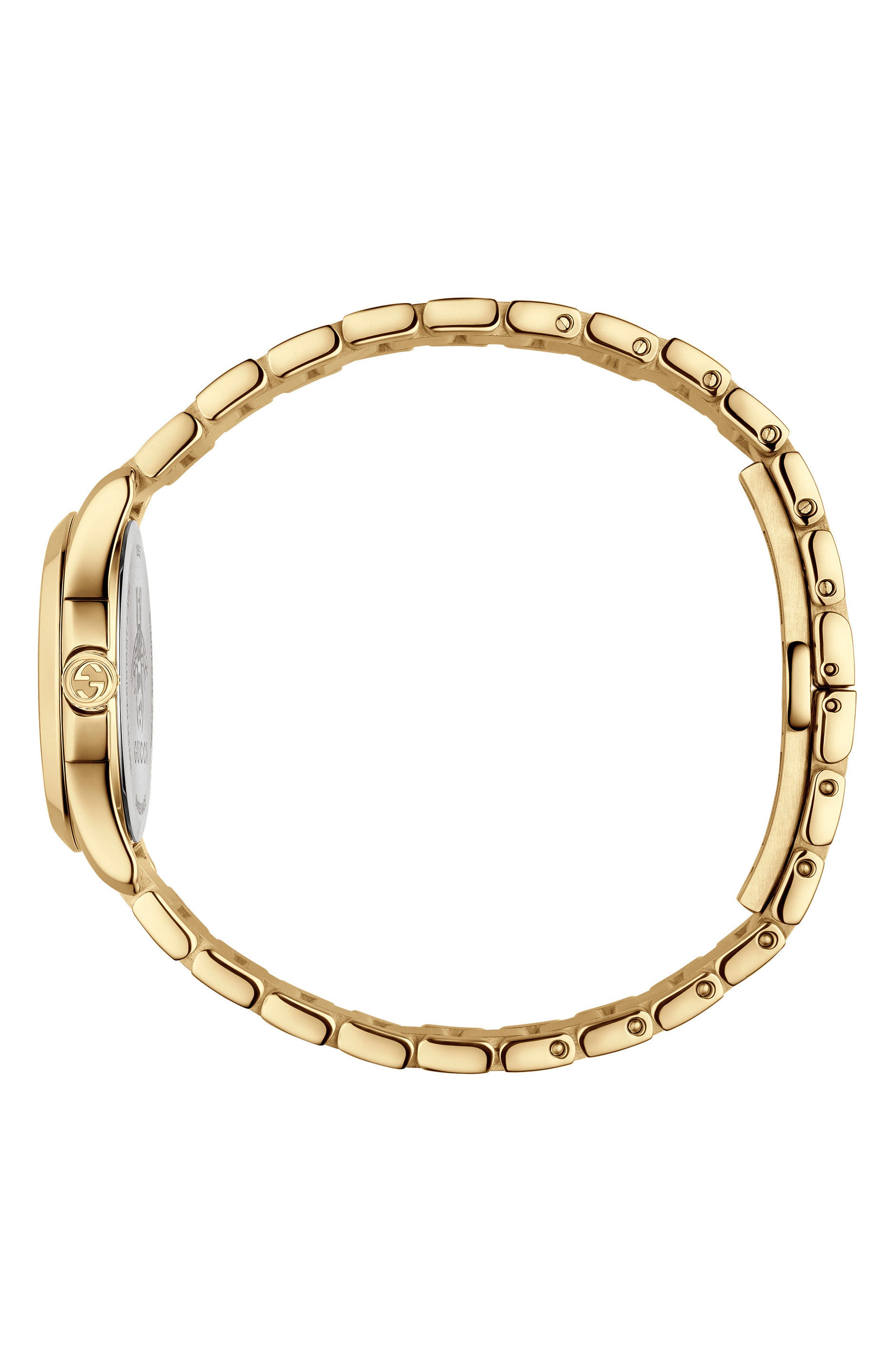 GUCCI, G-Timeless Bracelet Watch, 27mm, Alternate thumbnail 3, color, GOLD/ SILVER/ GOLD