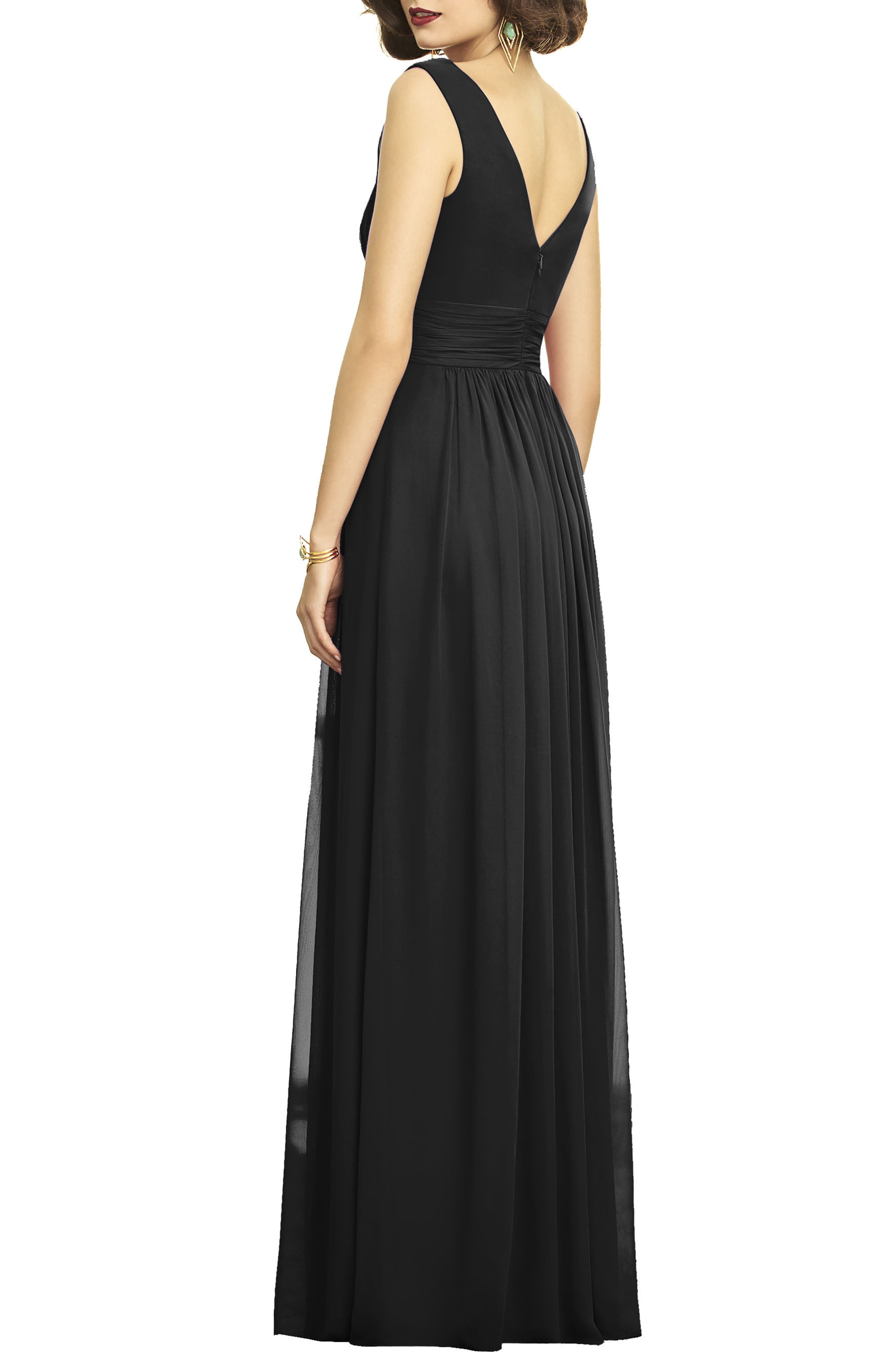 DESSY COLLECTION, Lux V-Neck Chiffon Gown, Alternate thumbnail 2, color, BLACK