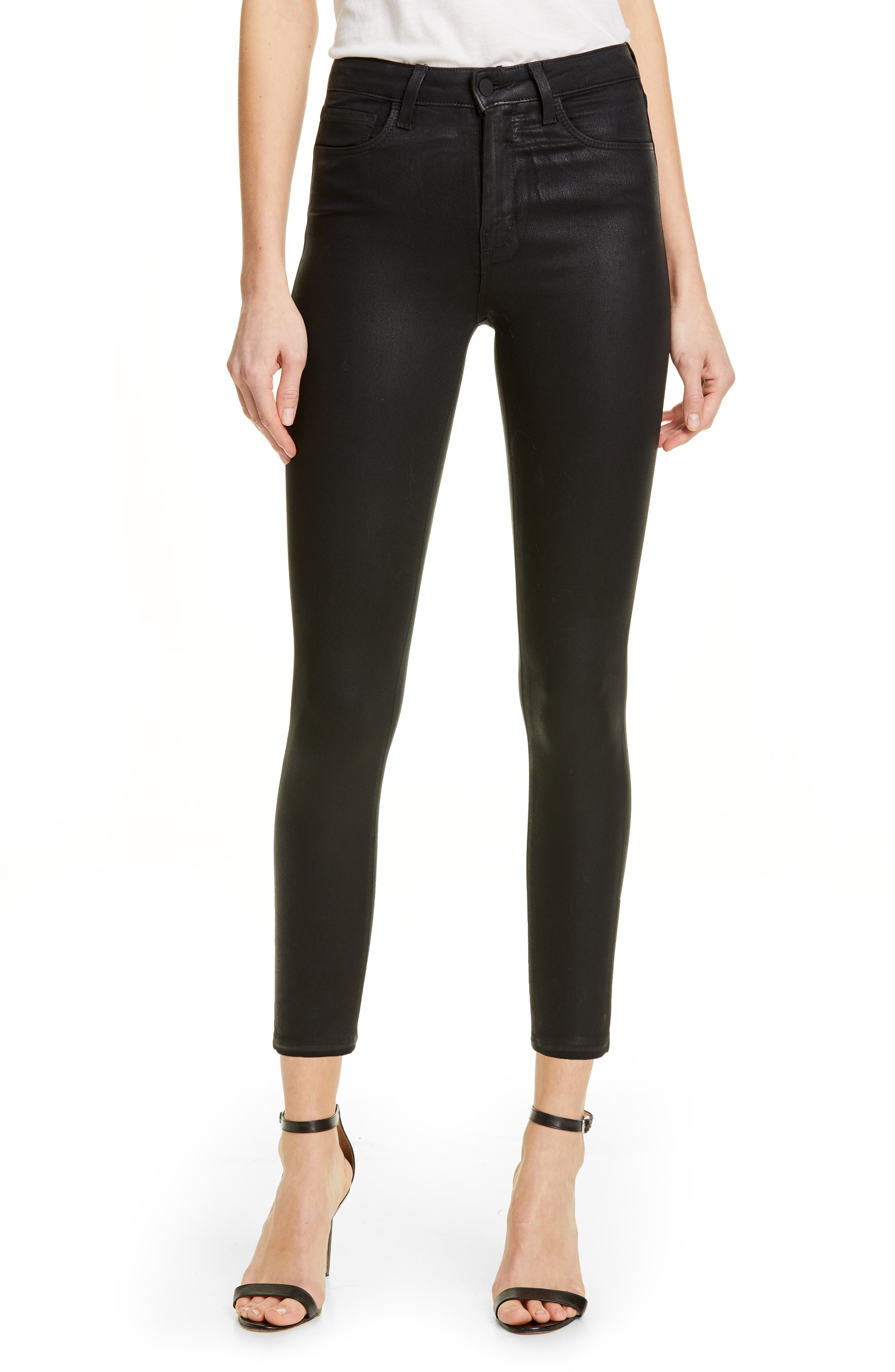 L'AGENCE, Coated High Waist Skinny Jeans, Main thumbnail 1, color, BLACK COATED
