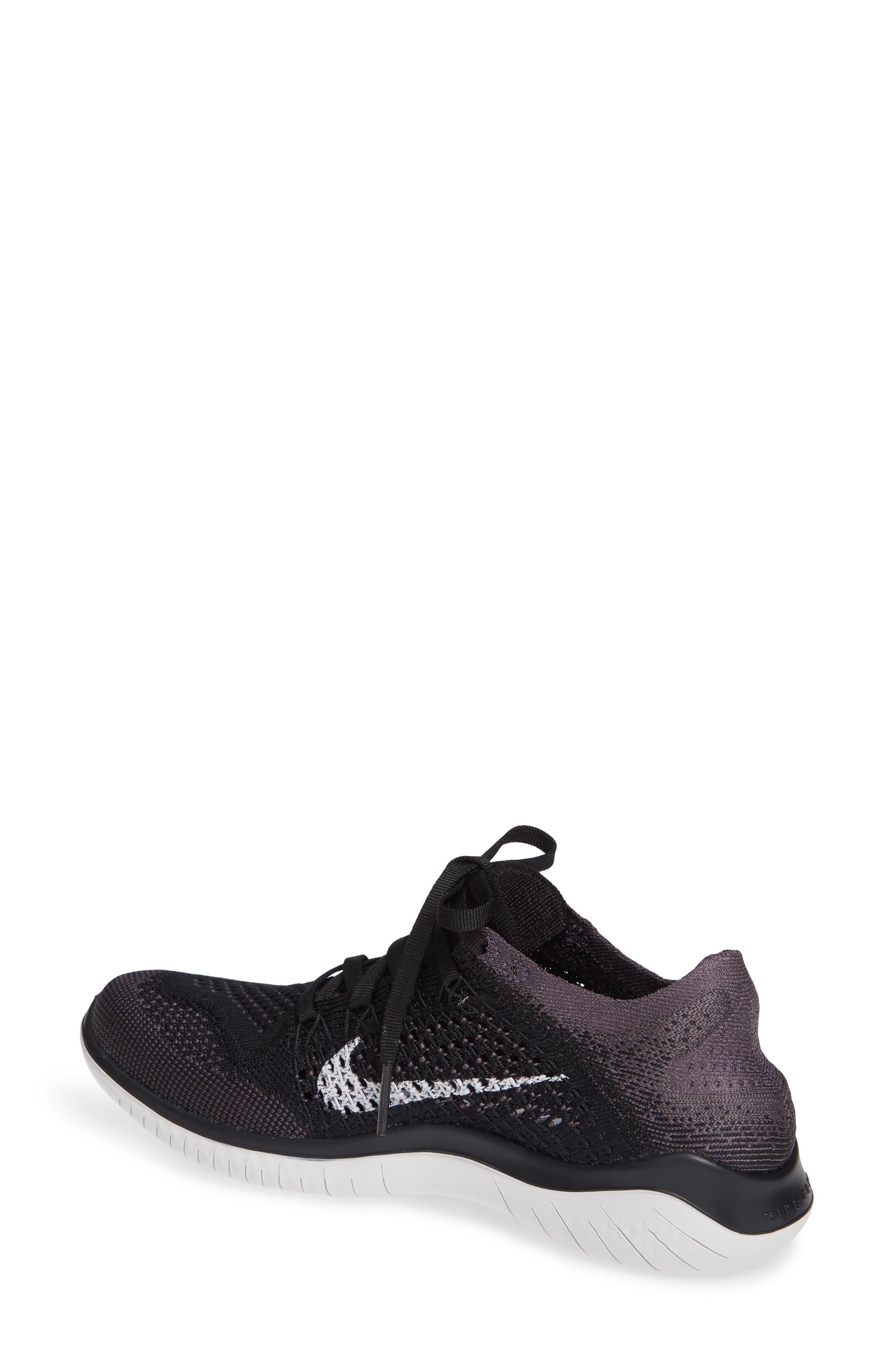 NIKE, Free RN Flyknit 2018 Running Shoe, Alternate thumbnail 2, color, BLACK/ VAST GREY/ GOLD