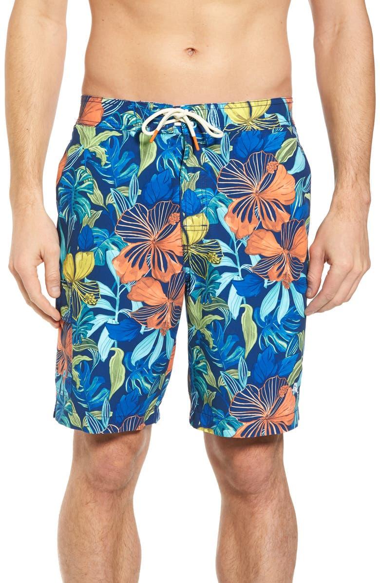 fd70f81e55567 TOMMY BAHAMA Baja Hibiscus Beach Swim Trunks, Main, color, 401
