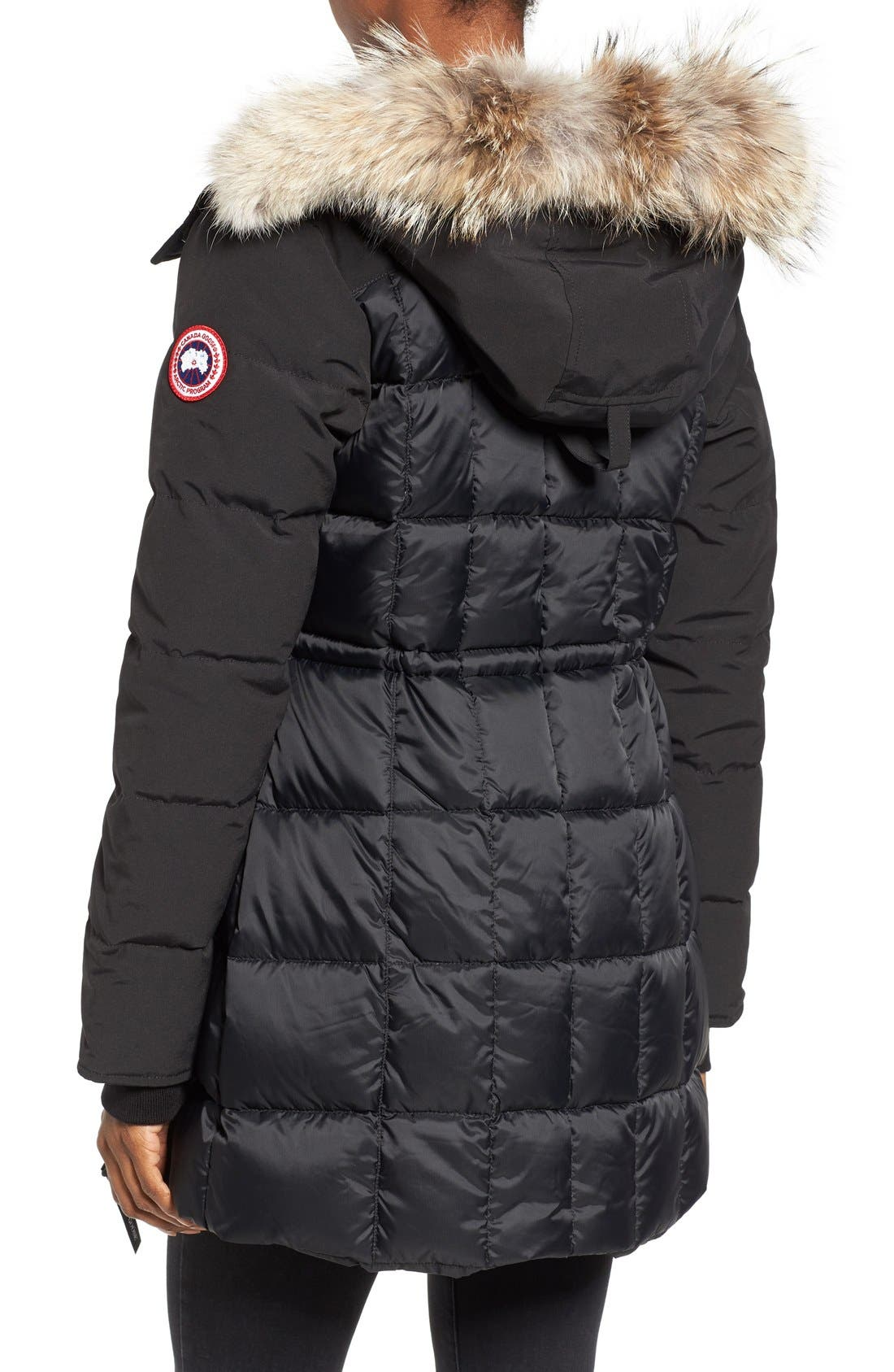 CANADA GOOSE, Beechwood Down Parka with Genuine Coyote Fur Trim, Alternate thumbnail 4, color, BLACK