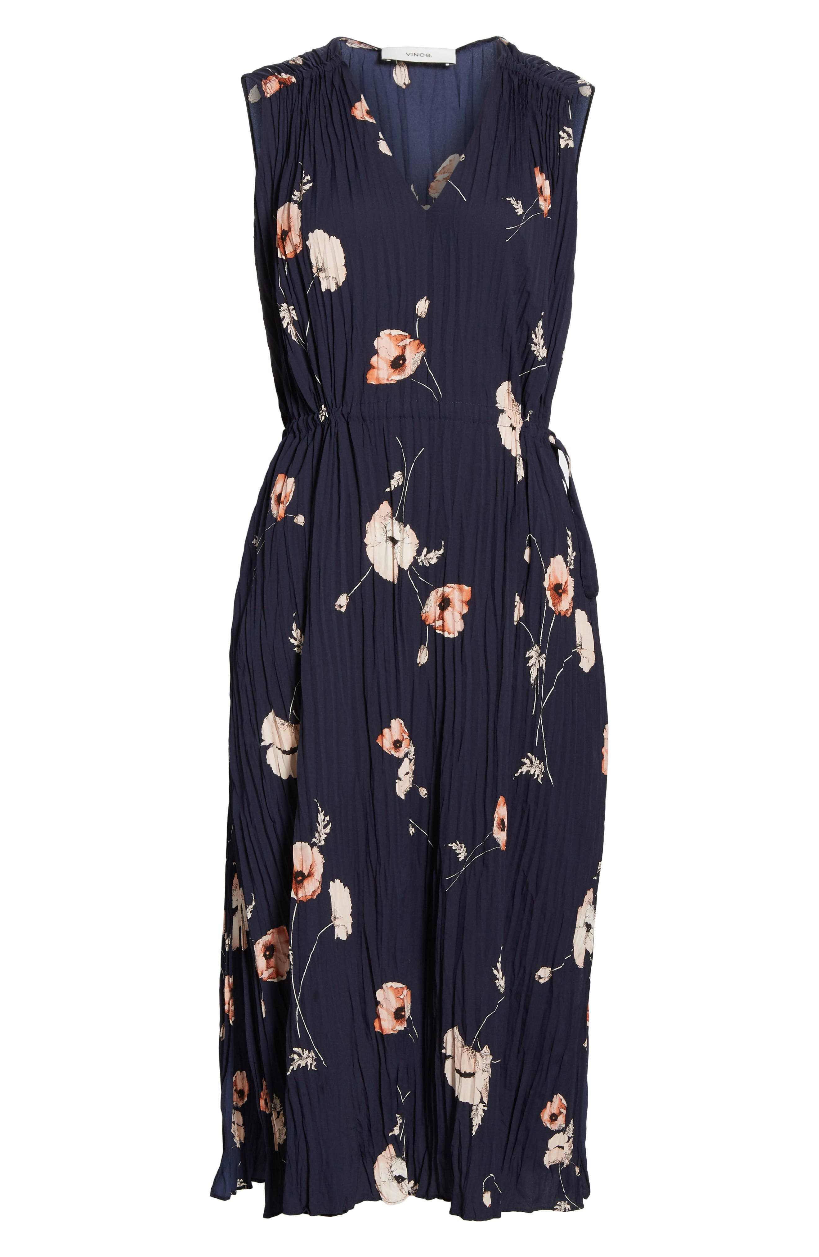 VINCE, Tossed Poppy Pleated Midi Dress, Alternate thumbnail 7, color, 427