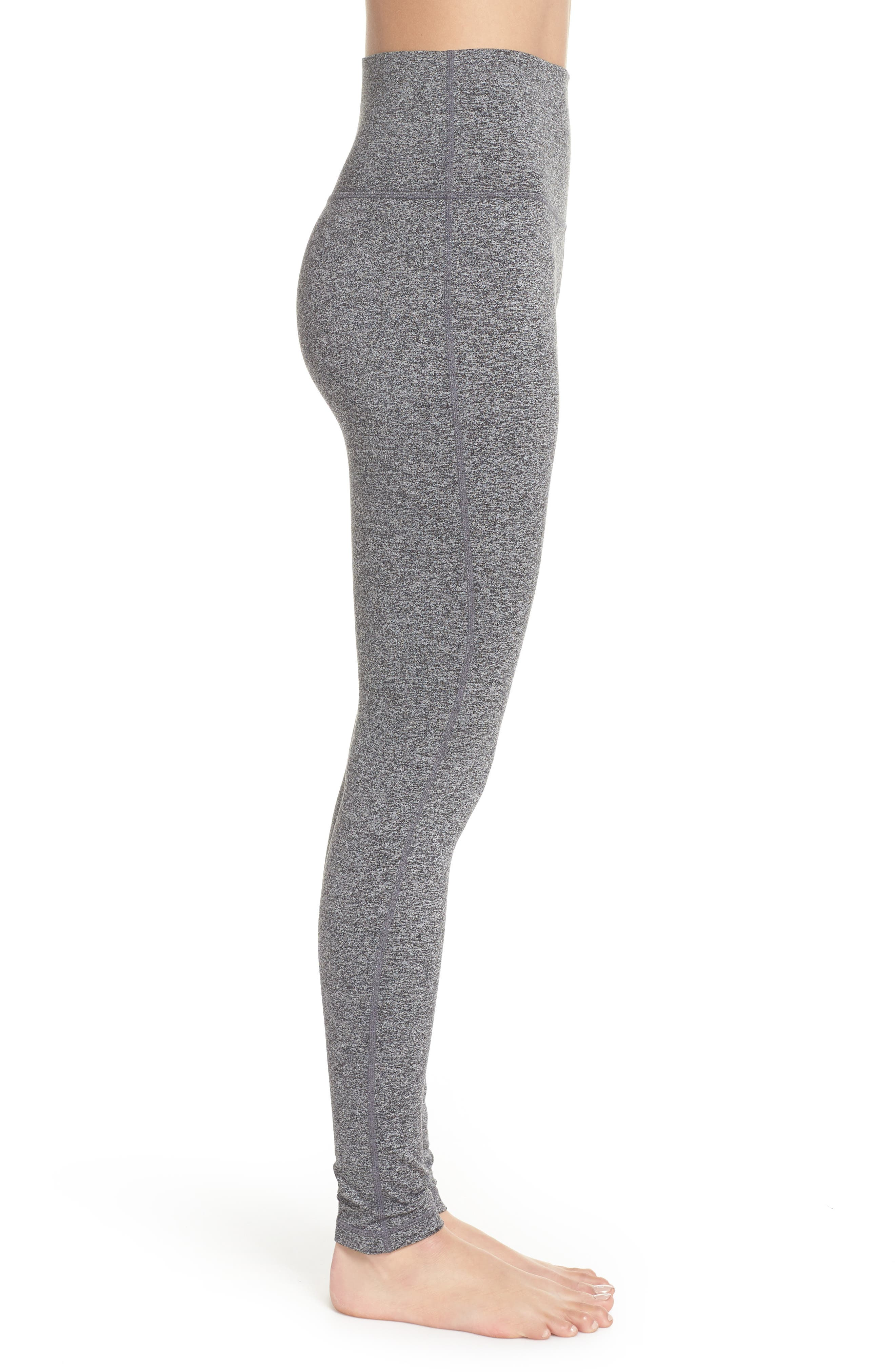 ZELLA, Ultrasoft Recycled High Waist Leggings, Alternate thumbnail 4, color, BLACK