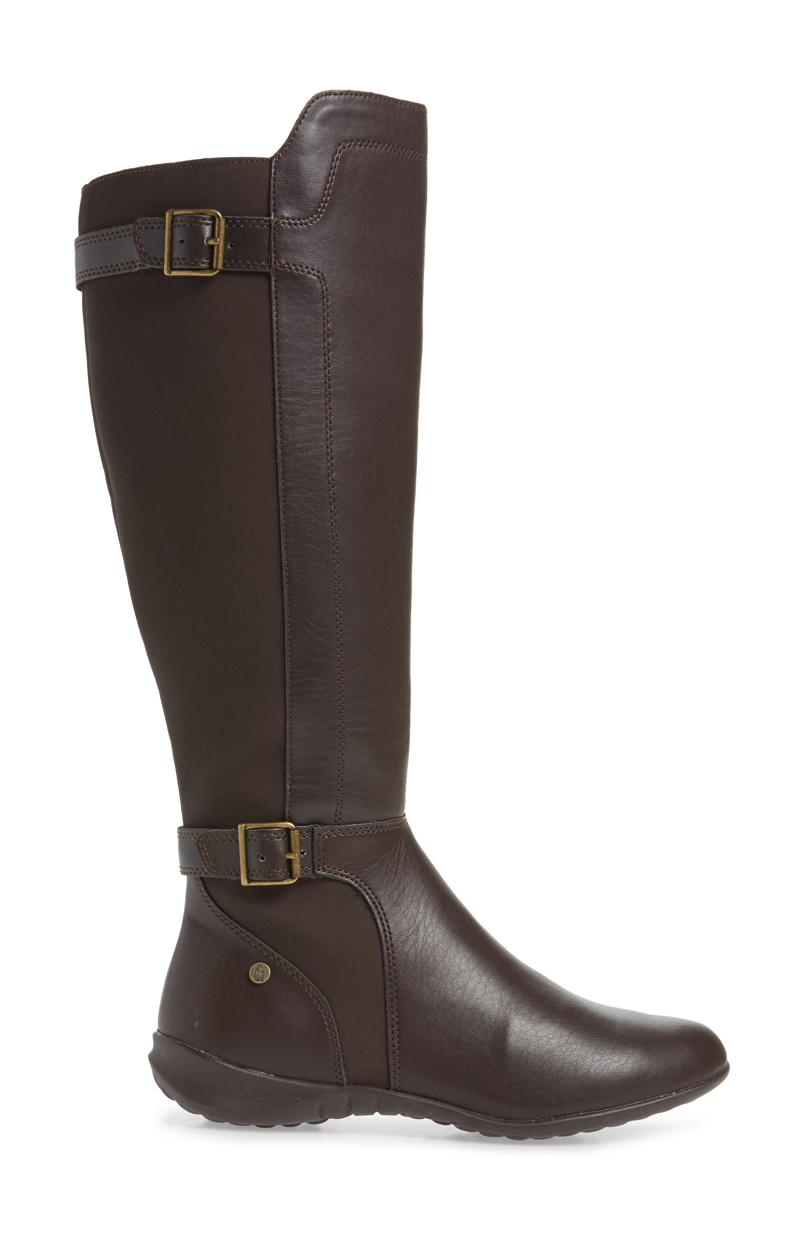 HUSH PUPPIES<SUP>®</SUP>, Bria Knee High Boot, Alternate thumbnail 3, color, DARK BROWN FAUX LEATHER