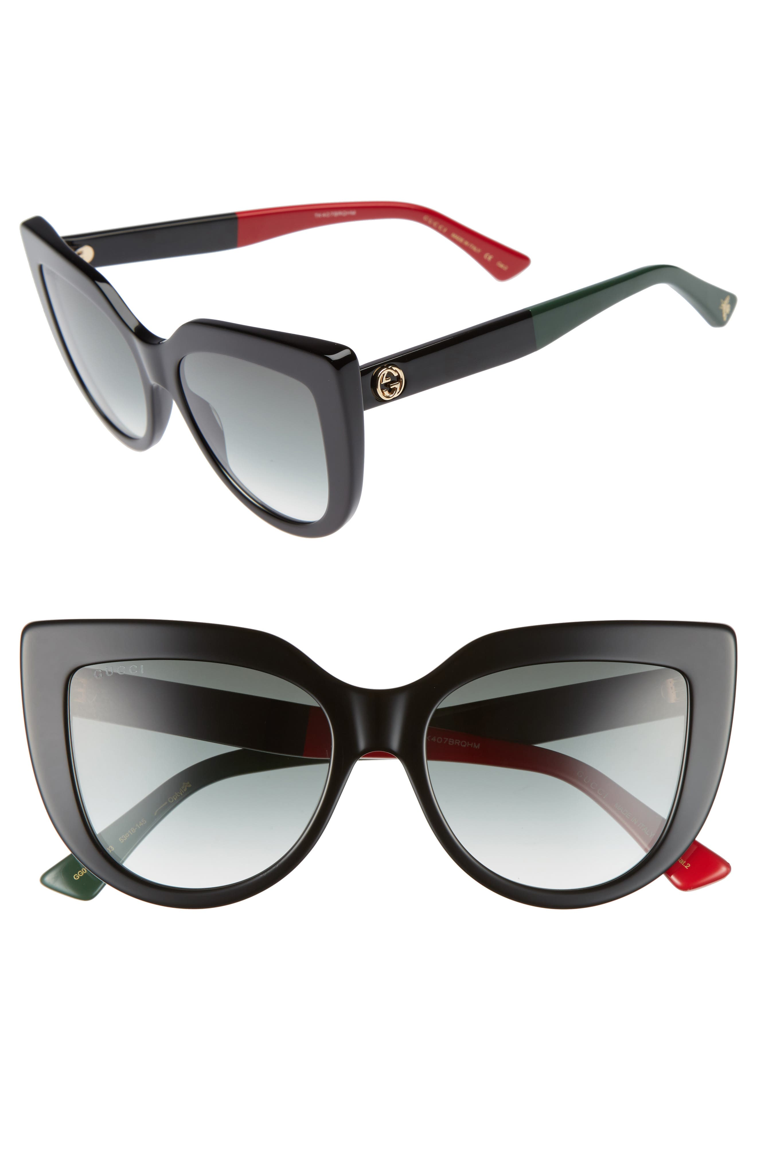 GUCCI, 53mm Cat Eye Sunglasses, Main thumbnail 1, color, BLACK
