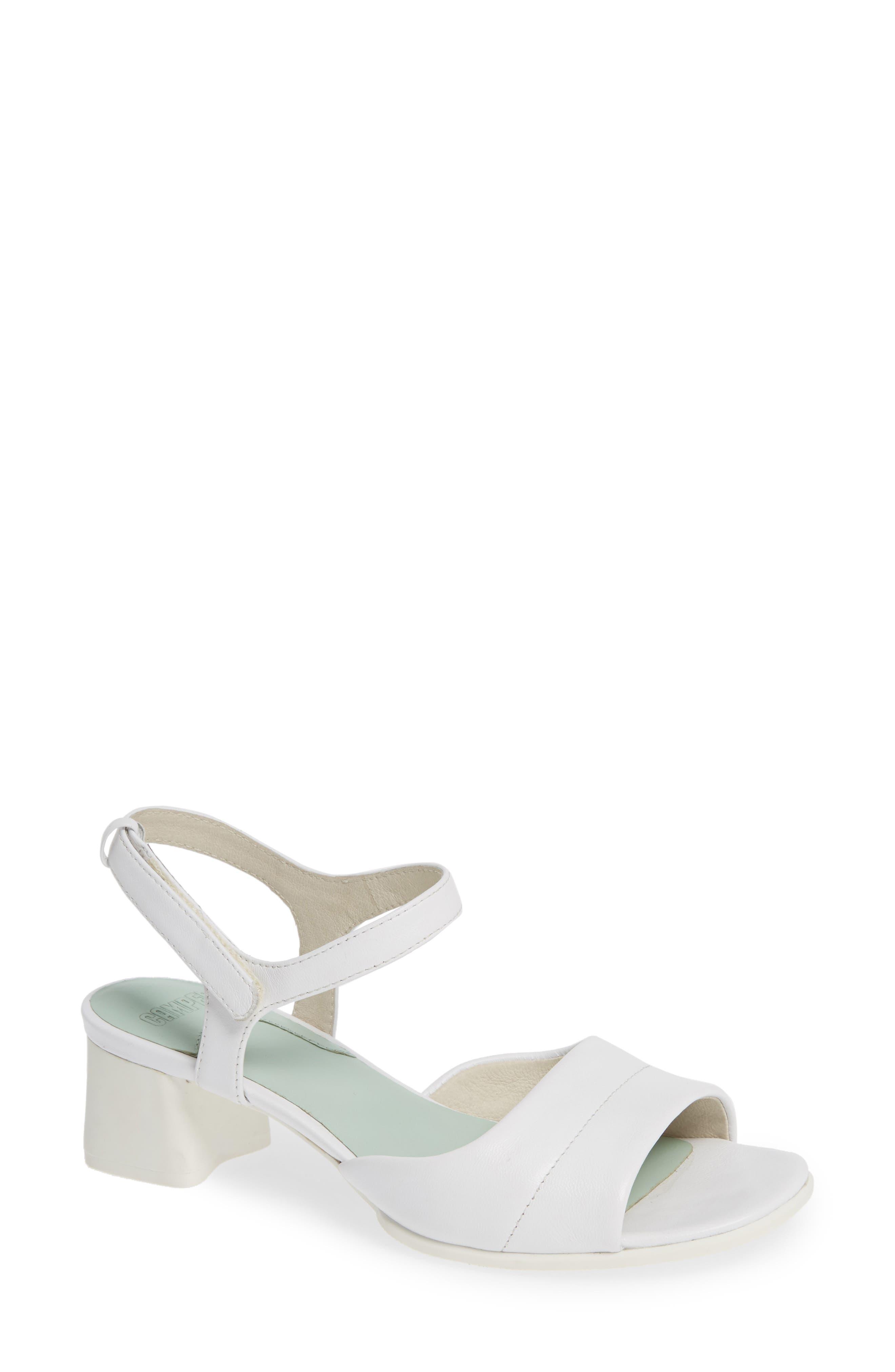 CAMPER Katie Block Heel Sandal, Main, color, WHITE NATURAL LEATHER
