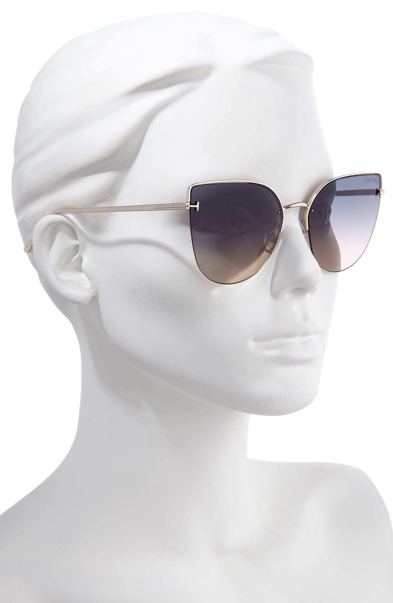 TOM FORD, Ingrid 60mm Cat Eye Sunglasses, Alternate thumbnail 2, color, ROSE GOLD/ GREY TO OCHRE