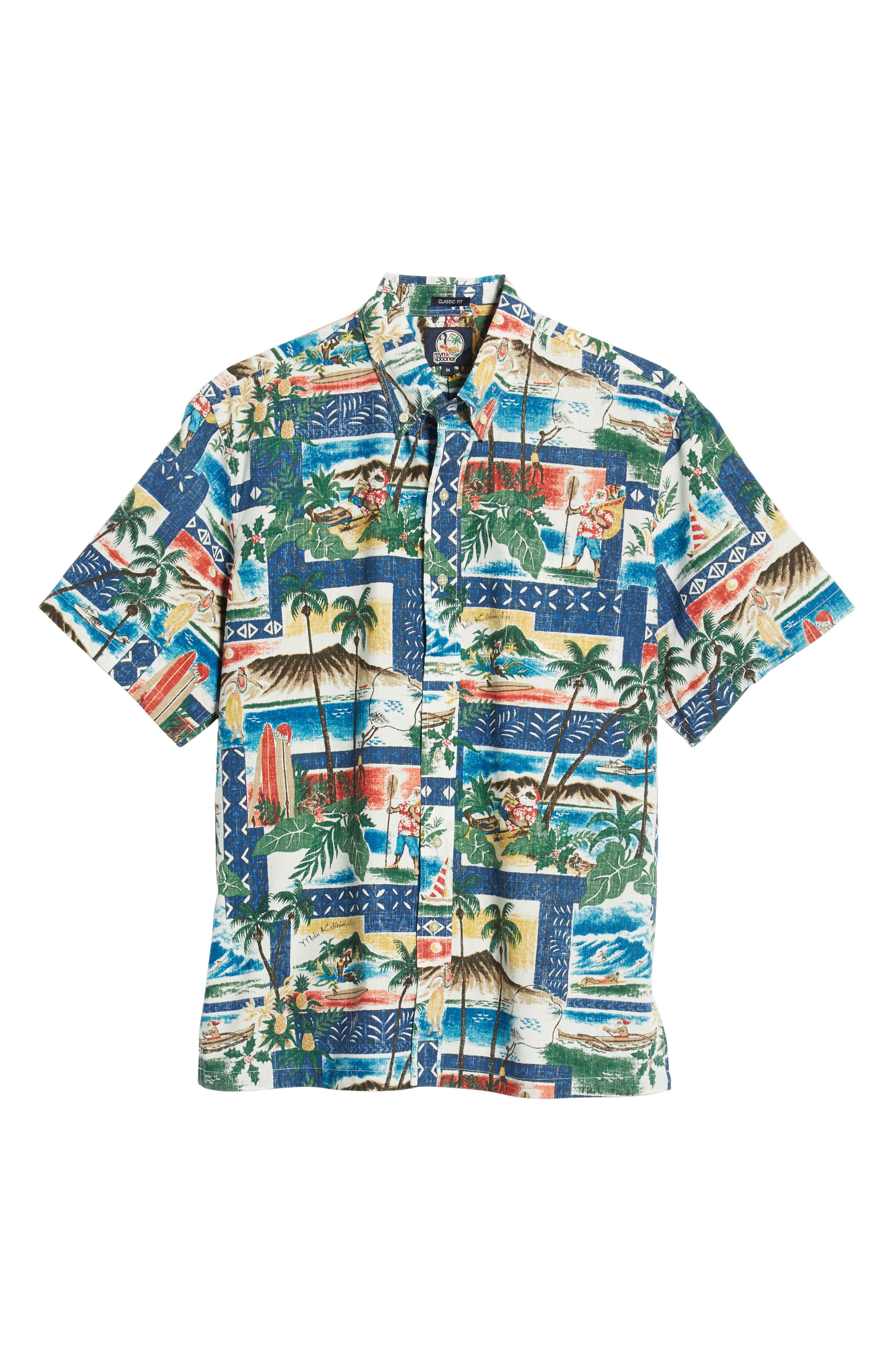 REYN SPOONER, Hawaiian Christmas 2018 Classic Fit Sport Shirt, Alternate thumbnail 5, color, 420