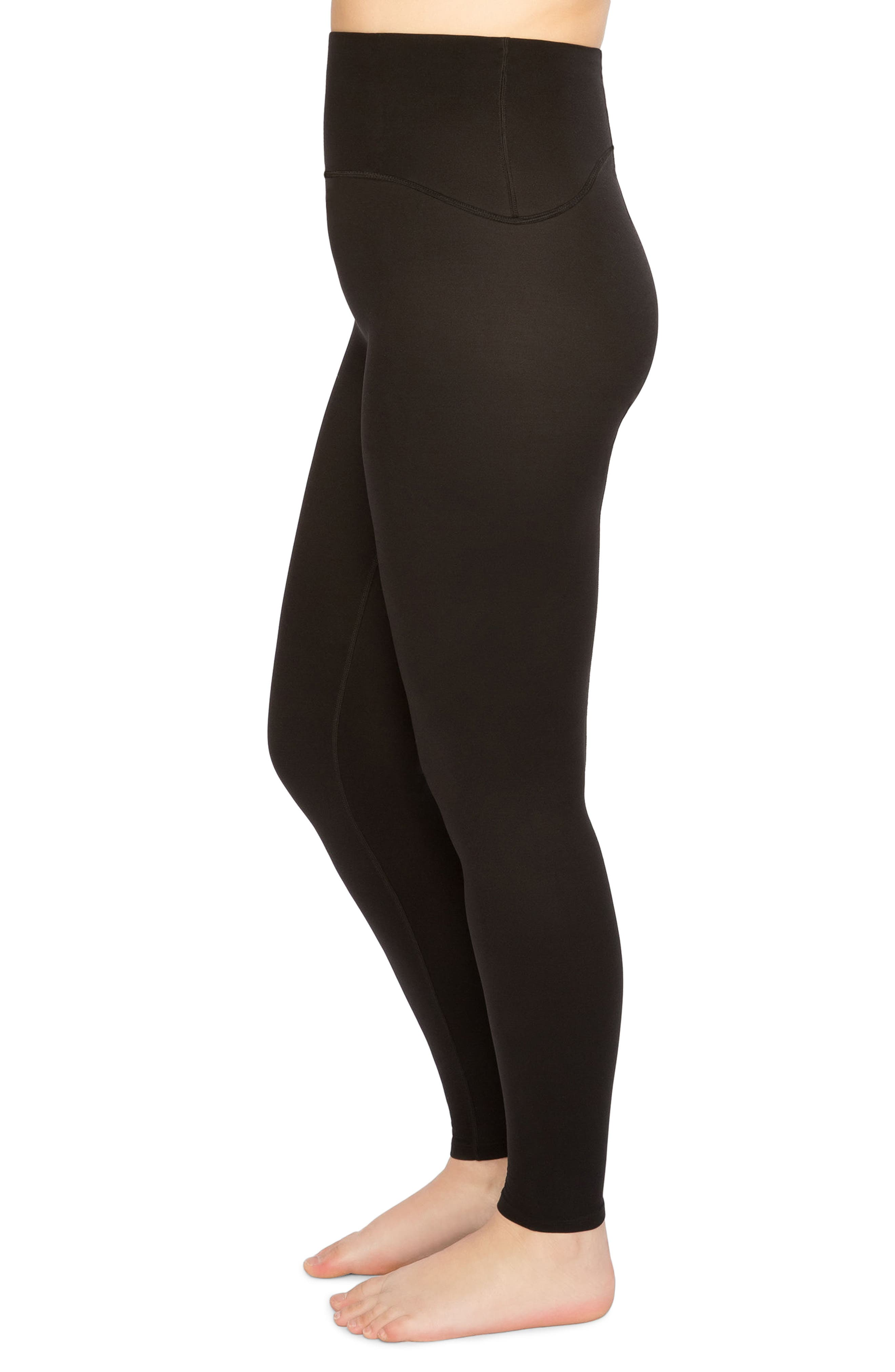 SPANX<SUP>®</SUP>, Active Leggings, Alternate thumbnail 3, color, BLACK