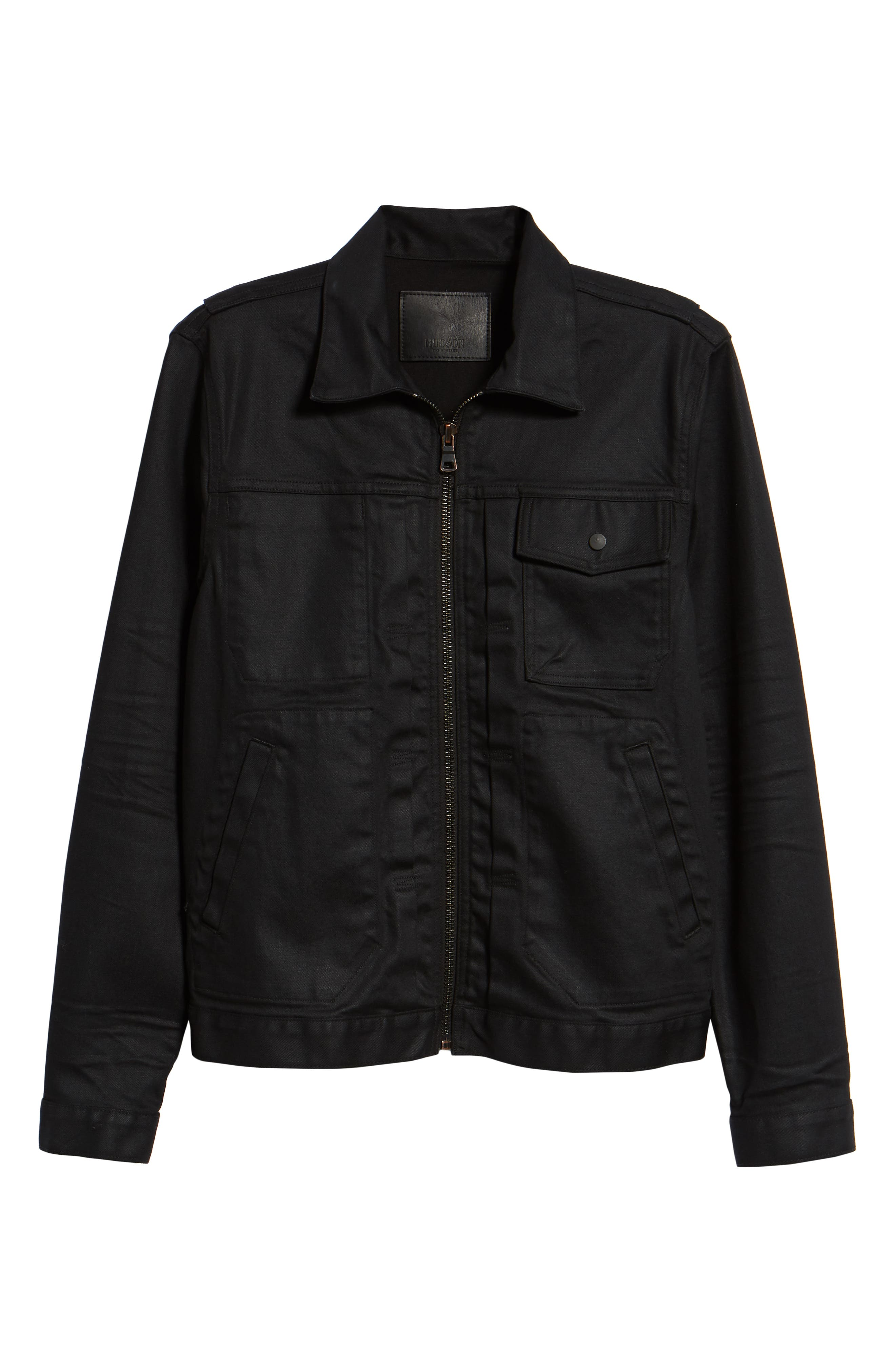 HUDSON JEANS, Zip Denim Jacket, Alternate thumbnail 5, color, ONYX