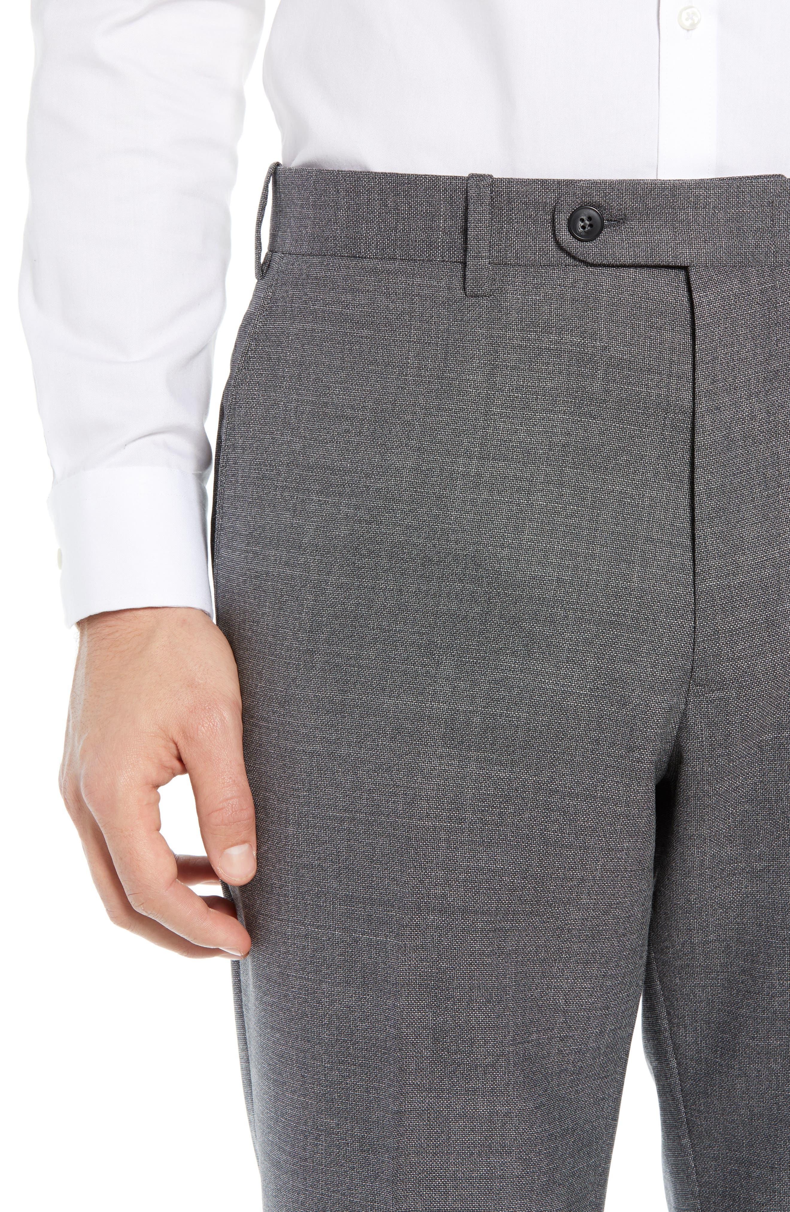 JOHN W. NORDSTROM<SUP>®</SUP>, Torino Flat Front Solid Wool Trousers, Alternate thumbnail 4, color, GREY PHANTOM BASKET WEAVE