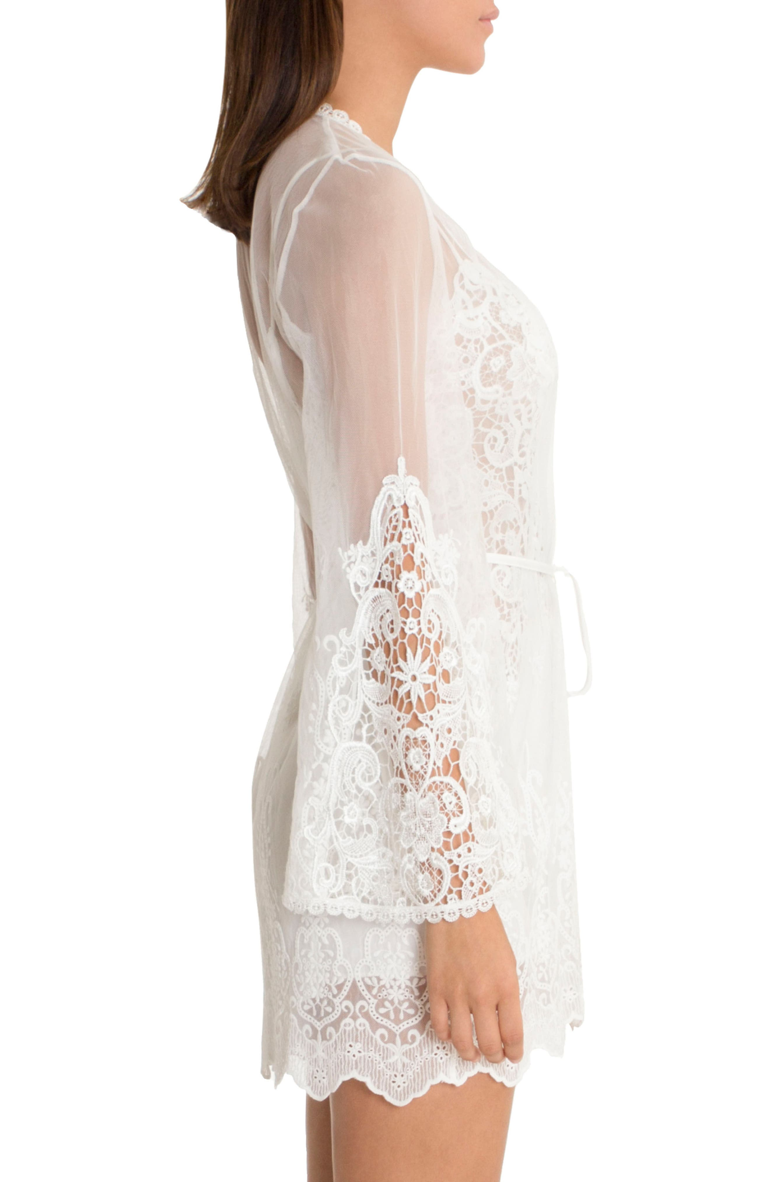 IN BLOOM BY JONQUIL, Embroidered Mesh Wrap, Alternate thumbnail 3, color, IVORY
