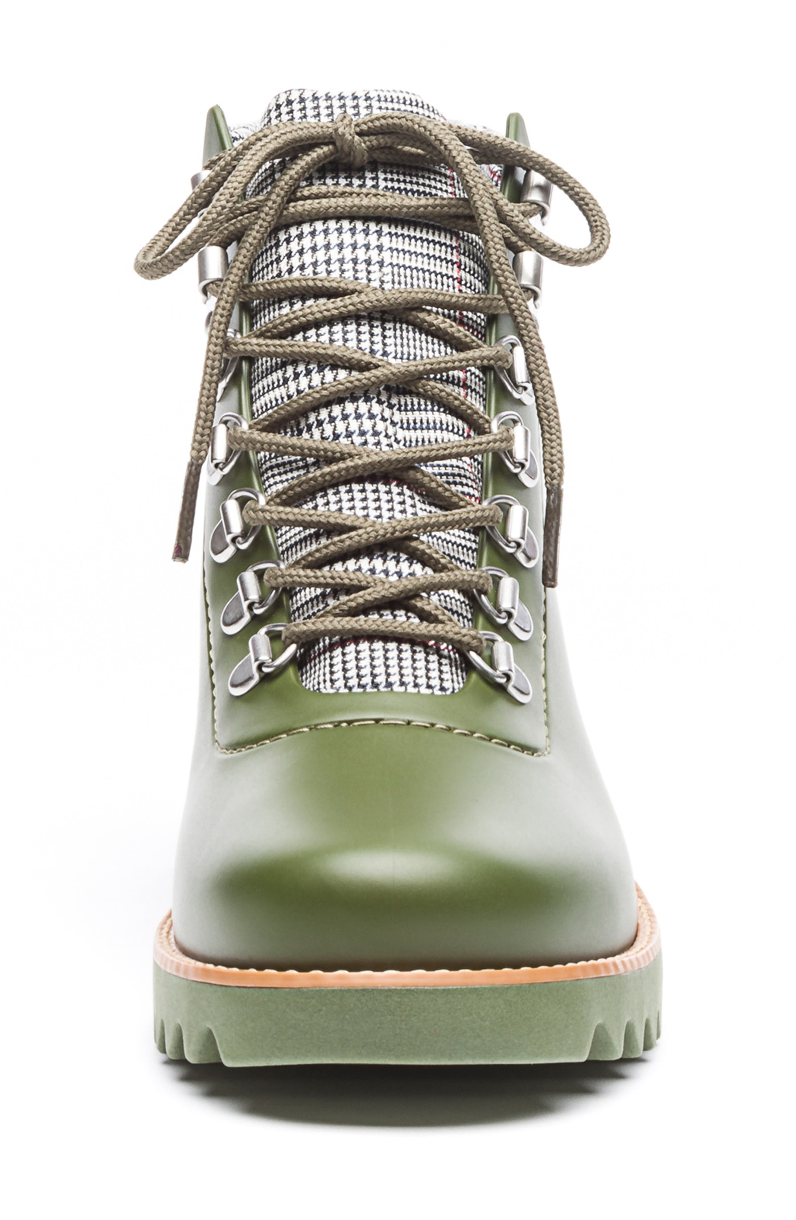 BERNARDO, Winnie Waterproof Rain Bootie, Alternate thumbnail 4, color, MILITARY GREEN
