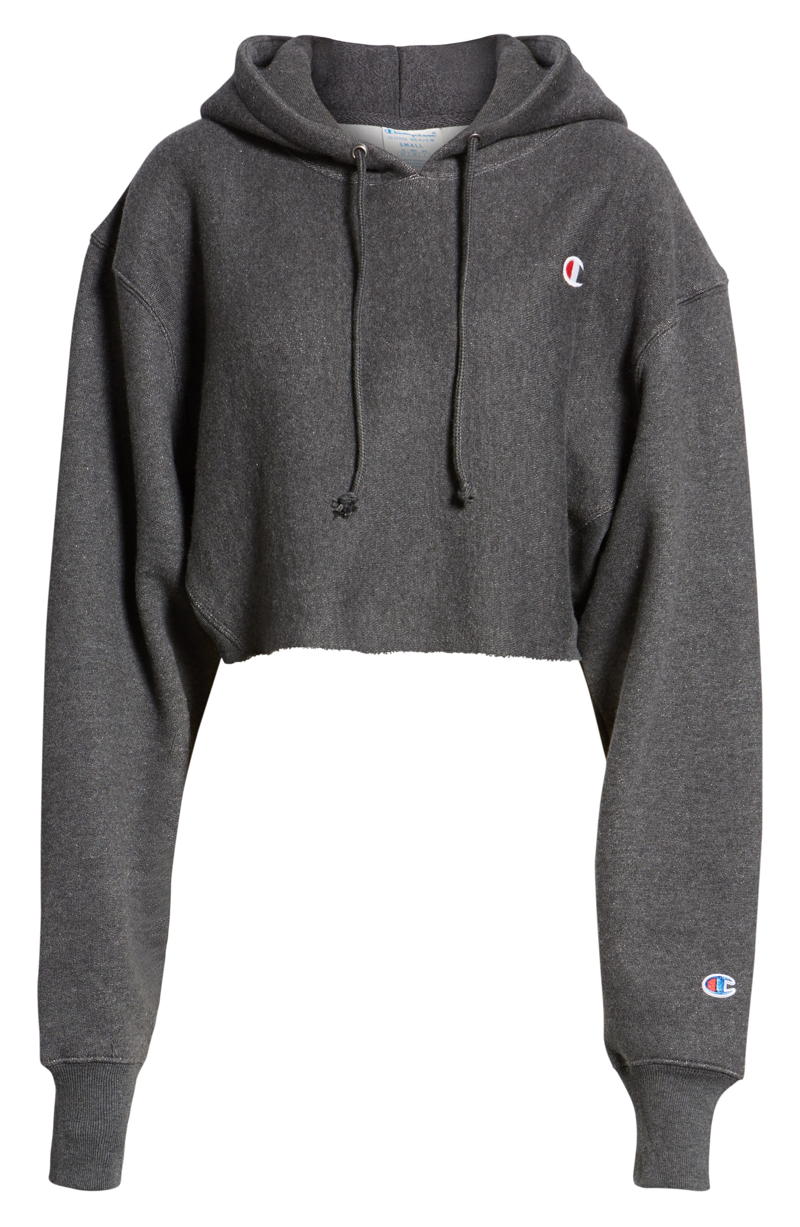 CHAMPION, Reverse Weave Crop Hoodie, Alternate thumbnail 5, color, GRANITE HEATHER