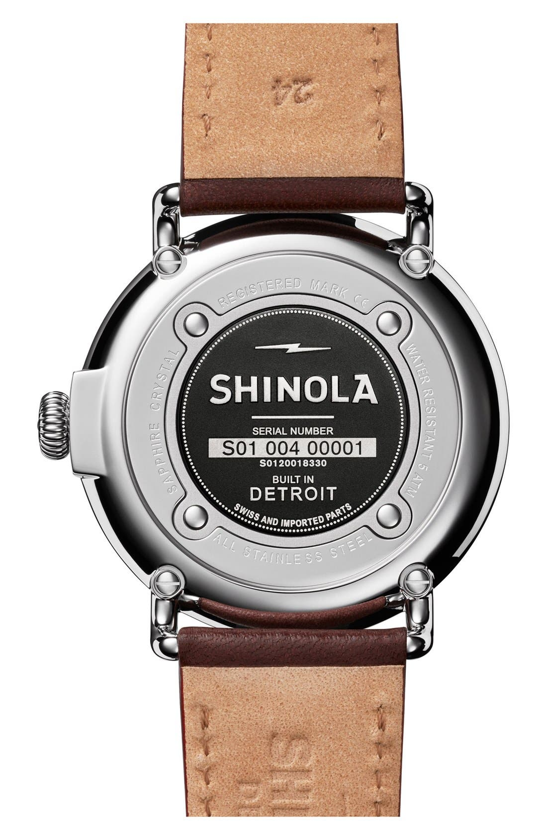 SHINOLA, 'The Runwell' Leather Strap Watch, 47mm, Alternate thumbnail 5, color, BROWN/ BLACK