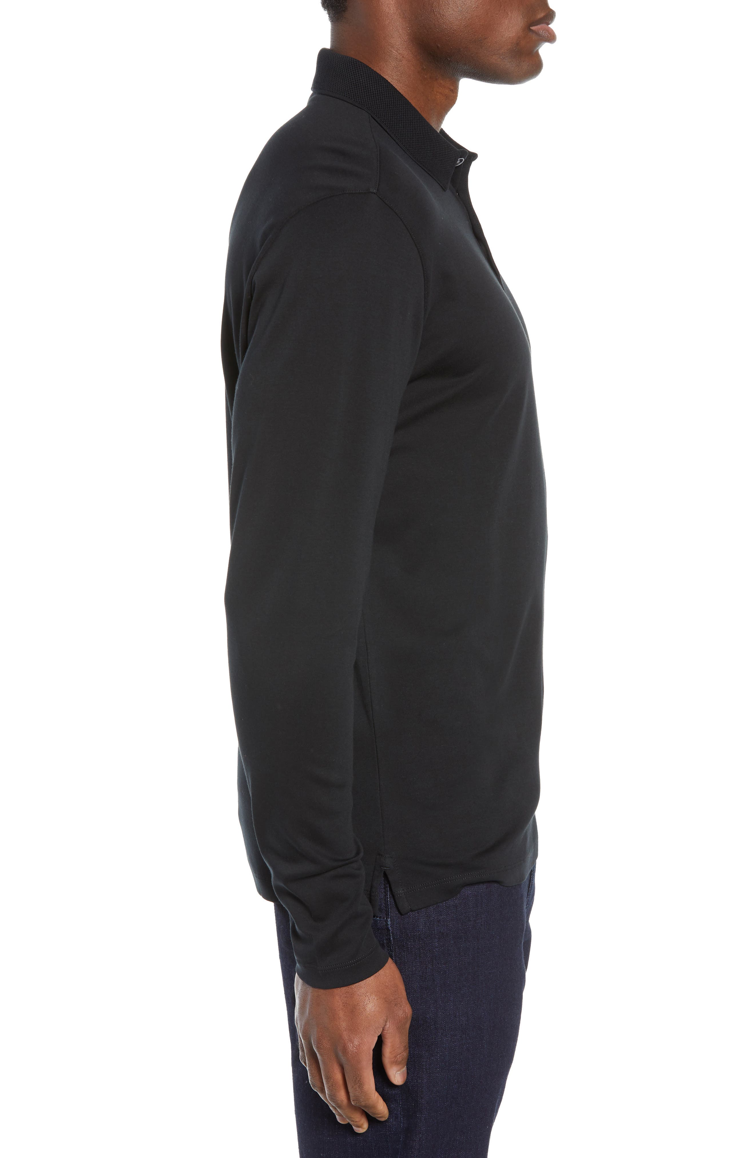 ROBERT BARAKETT, Batiste Long Sleeve Polo, Alternate thumbnail 3, color, BLACK