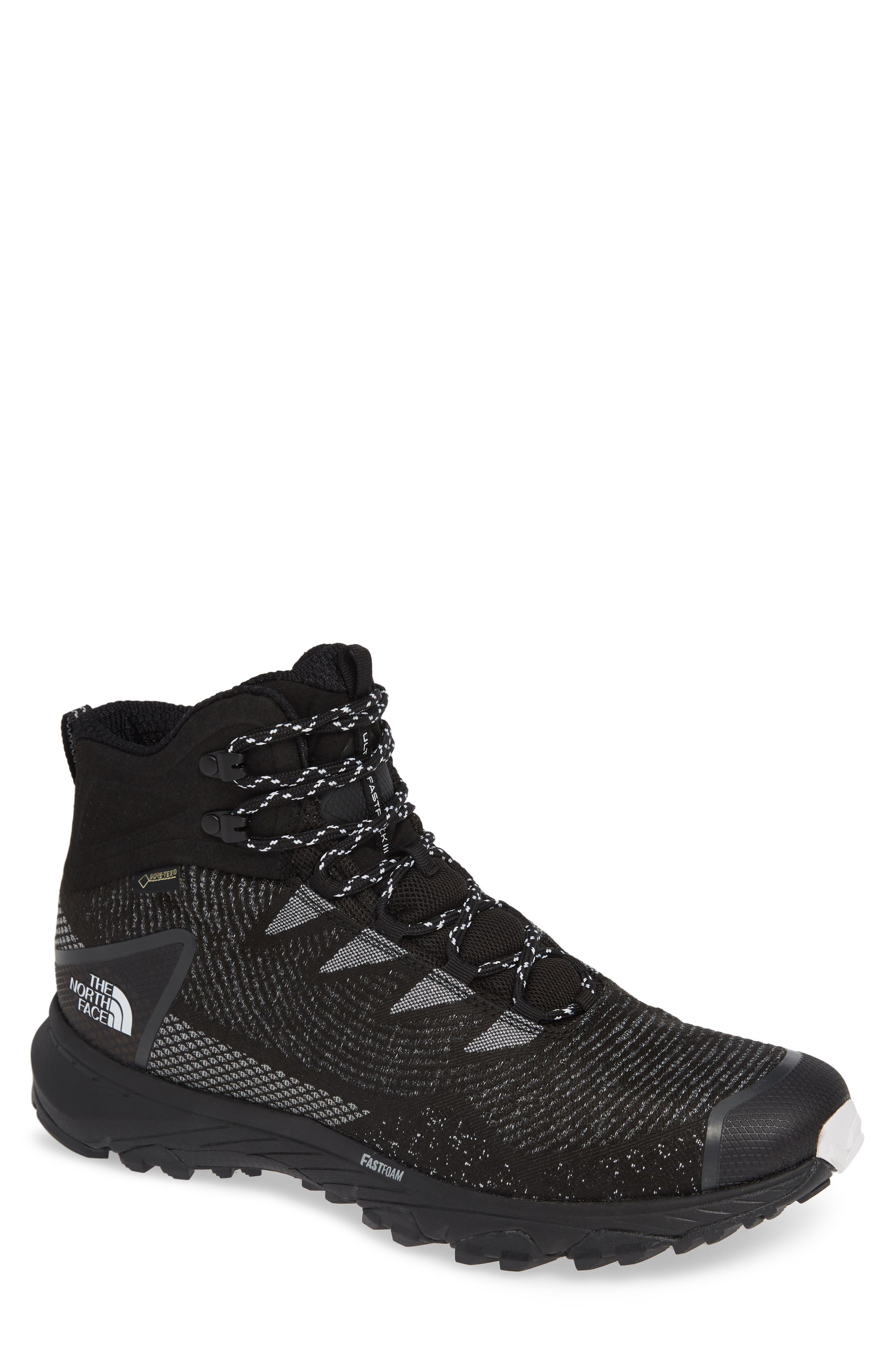 THE NORTH FACE, Ultra Fastpack III Mid Gore-Tex<sup>®</sup> Hiking Boot, Main thumbnail 1, color, BLACK/ WHITE