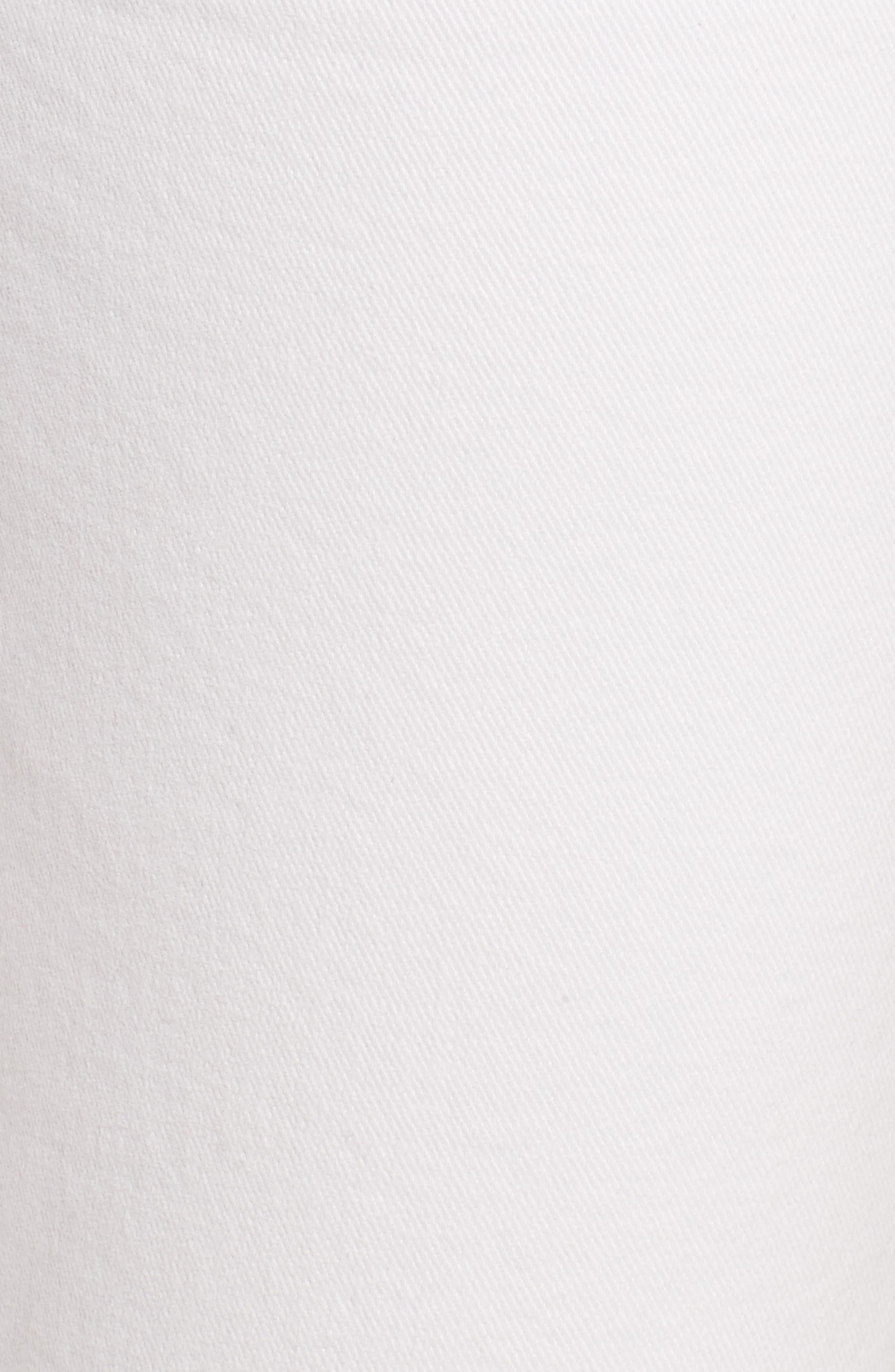PAIGE, Skyline Raw Hem Crop Skinny Jeans, Alternate thumbnail 6, color, LIVED IN CRISP WHITE