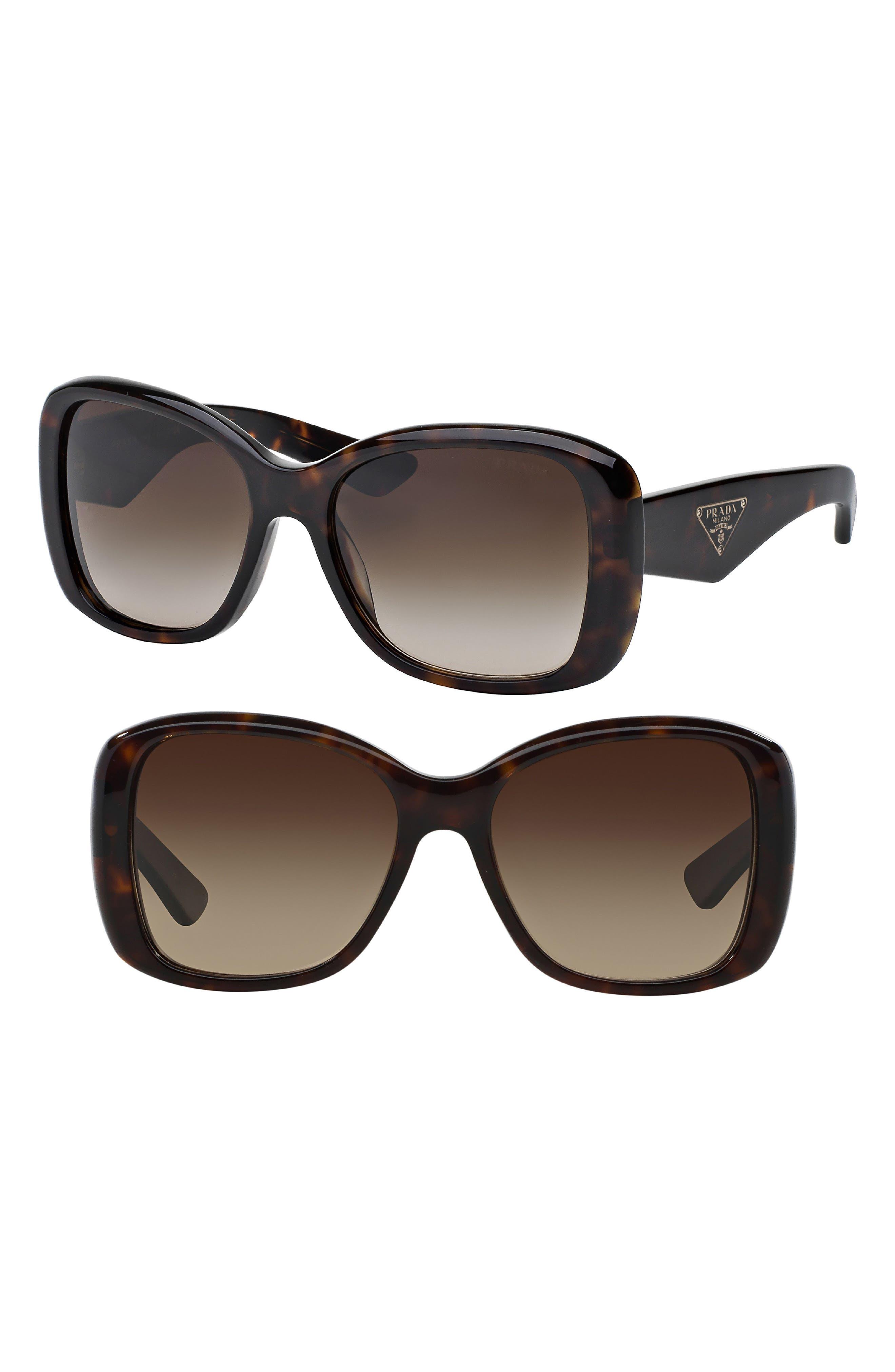 PRADA, 57mm Oversized Sunglasses, Alternate thumbnail 2, color, 200