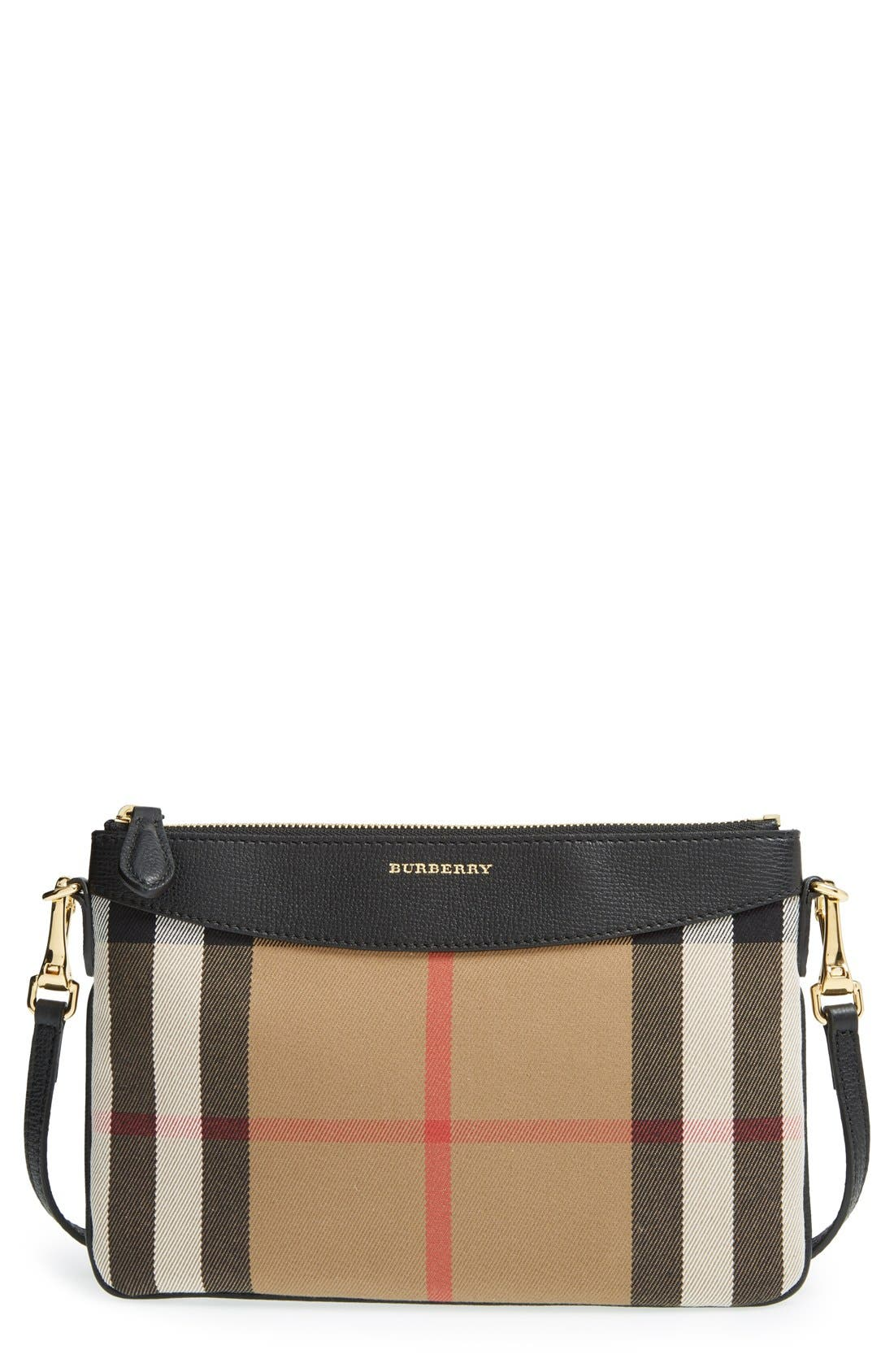 BURBERRY, 'Peyton - House Check' Crossbody Bag, Main thumbnail 1, color, 001