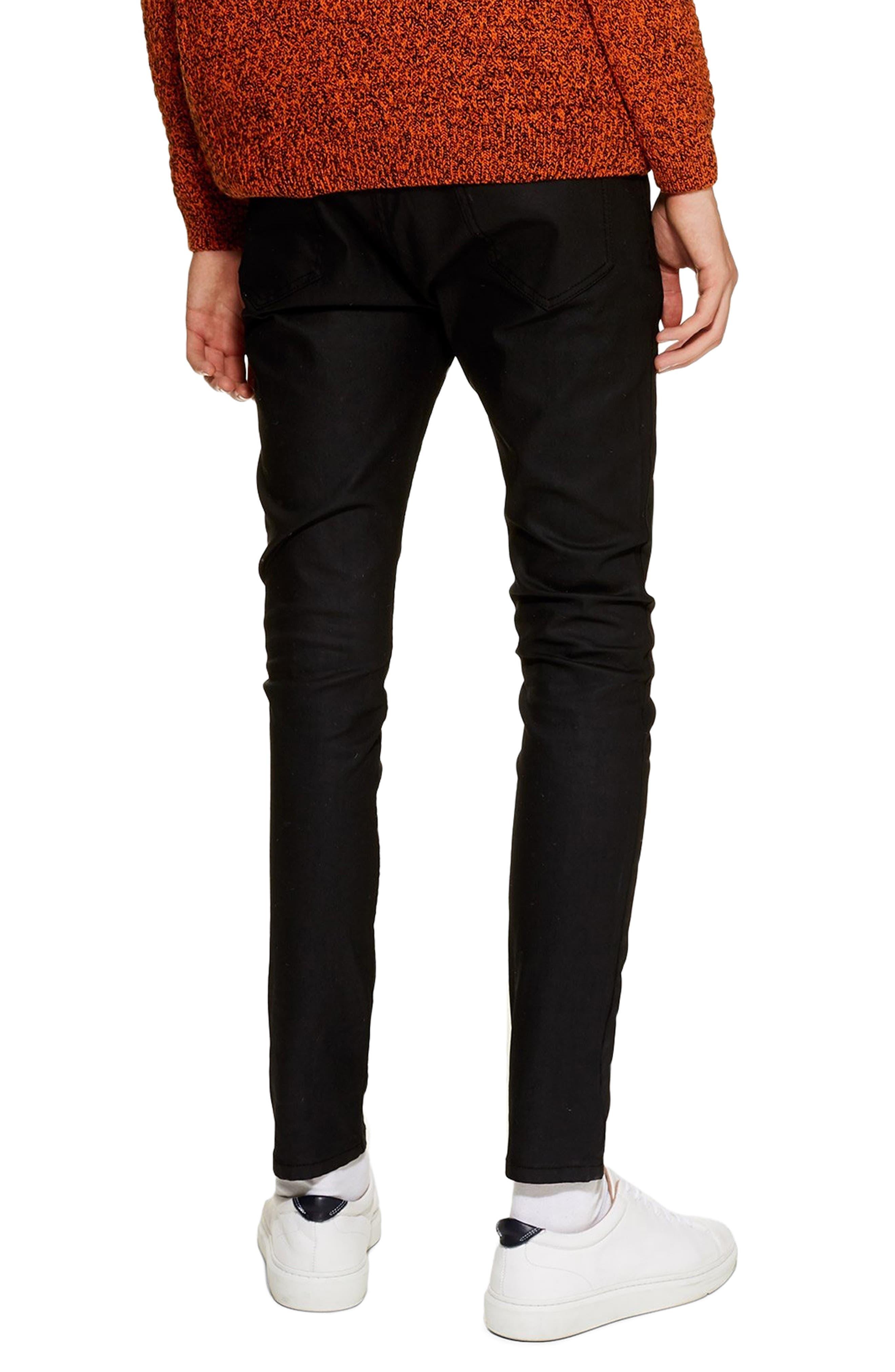TOPMAN, Coated Denim Skinny Jeans, Alternate thumbnail 2, color, BLACK