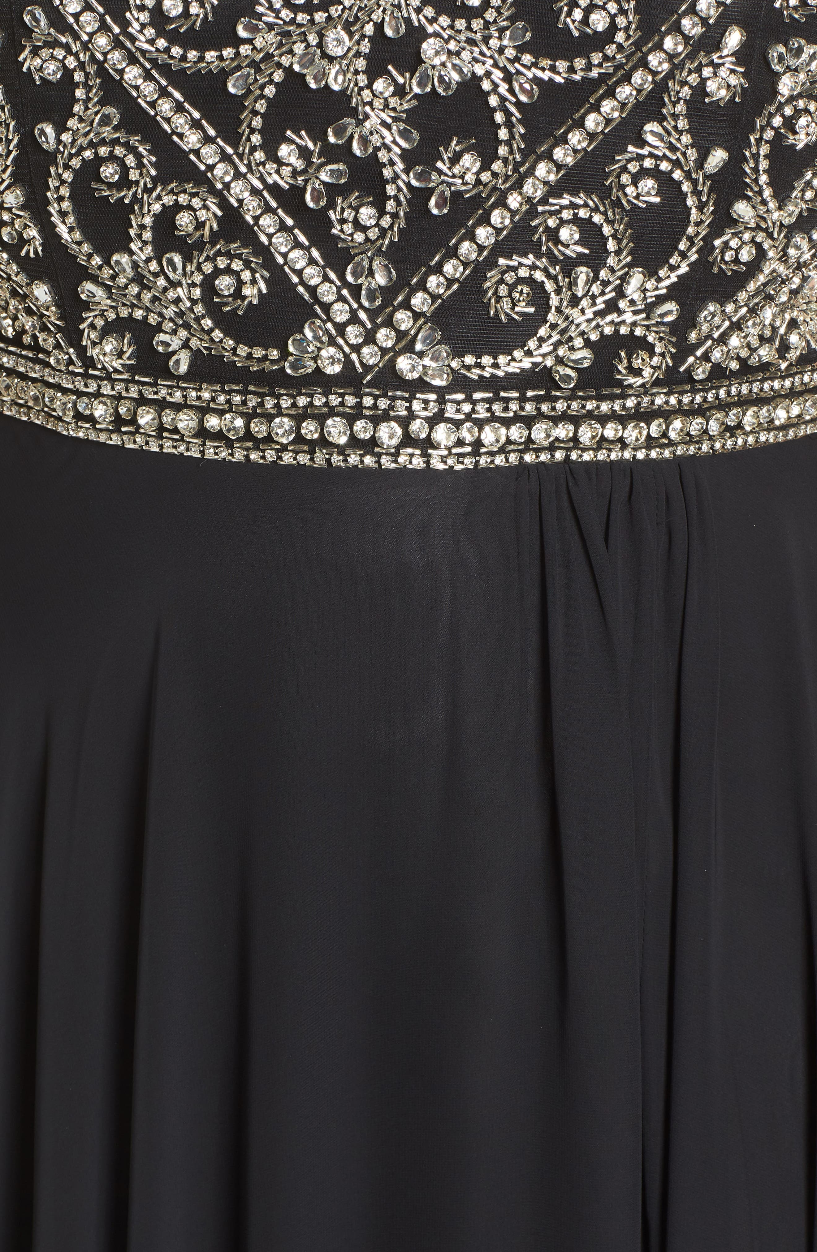 MAC DUGGAL, Embellished Bodice Evening Dress, Alternate thumbnail 6, color, BLACK