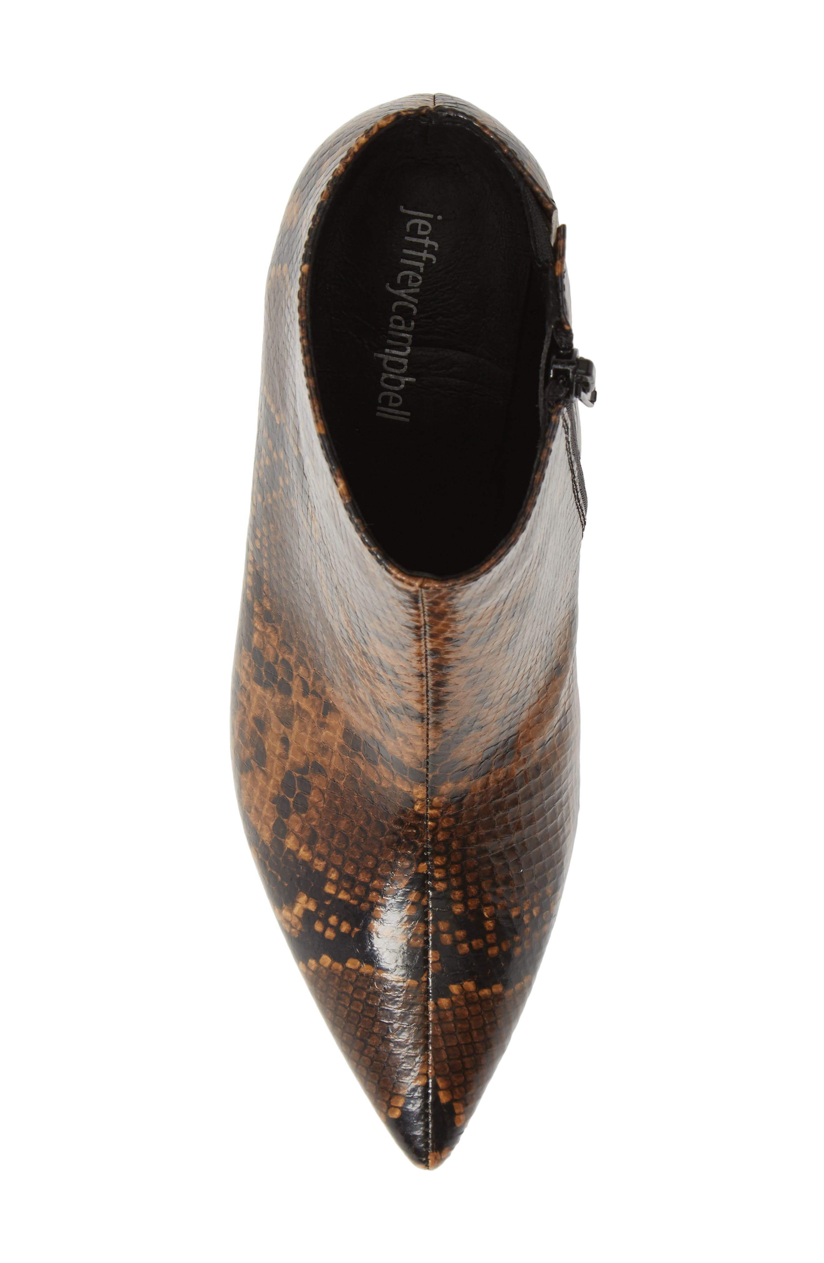 JEFFREY CAMPBELL, Final Bootie, Alternate thumbnail 5, color, NATURAL/ BLACK SNAKE PRINT