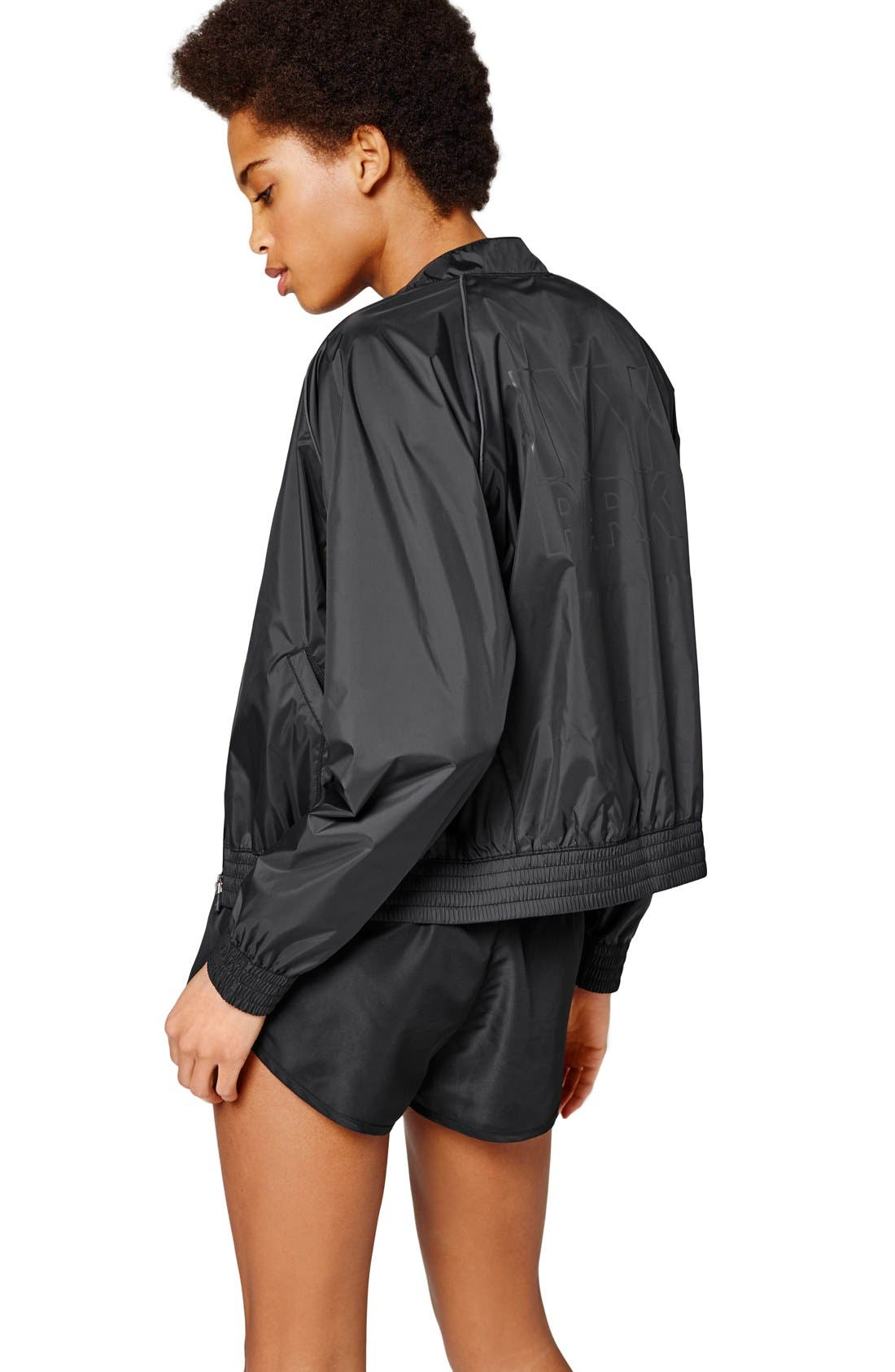 IVY PARK<SUP>®</SUP>, Technical Bomber Jacket with Reflective Logo, Alternate thumbnail 4, color, 001