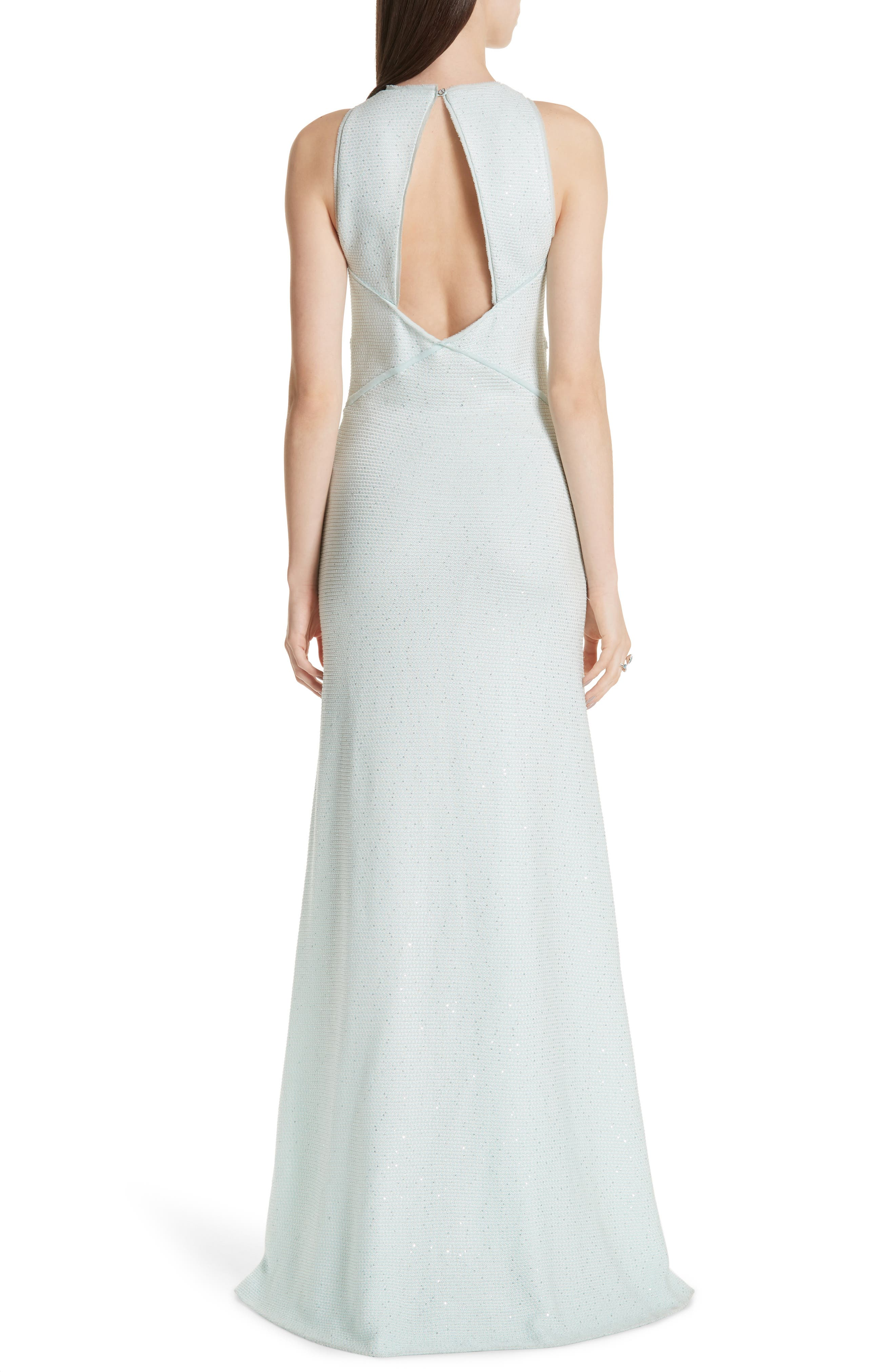 ST. JOHN COLLECTION, Links Sequin Knit Gown, Alternate thumbnail 2, color, OPAL