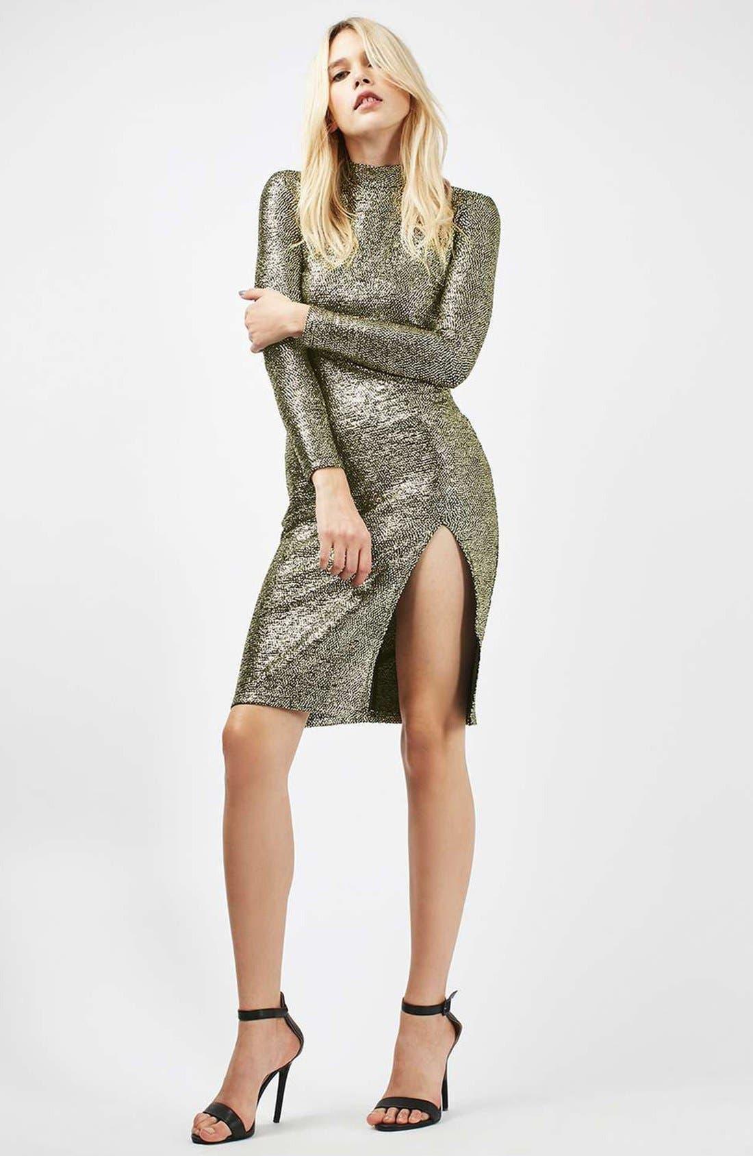 TOPSHOP, Foil Spot Midi Dress, Alternate thumbnail 6, color, 710