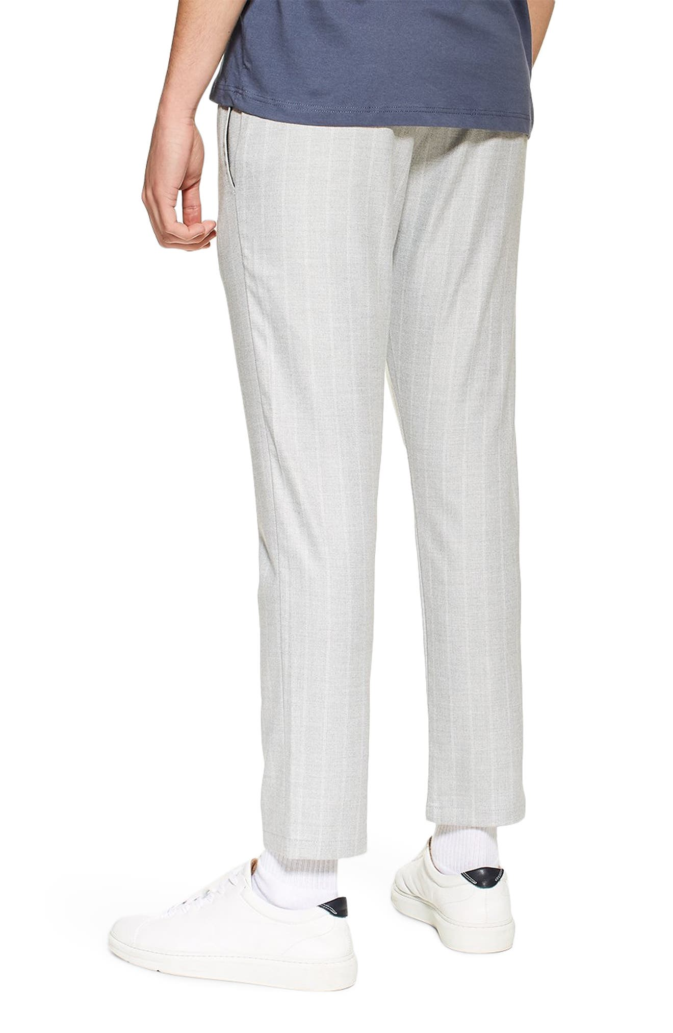 TOPMAN, Skinny Fit Stripe Crop Trousers, Alternate thumbnail 2, color, GREY