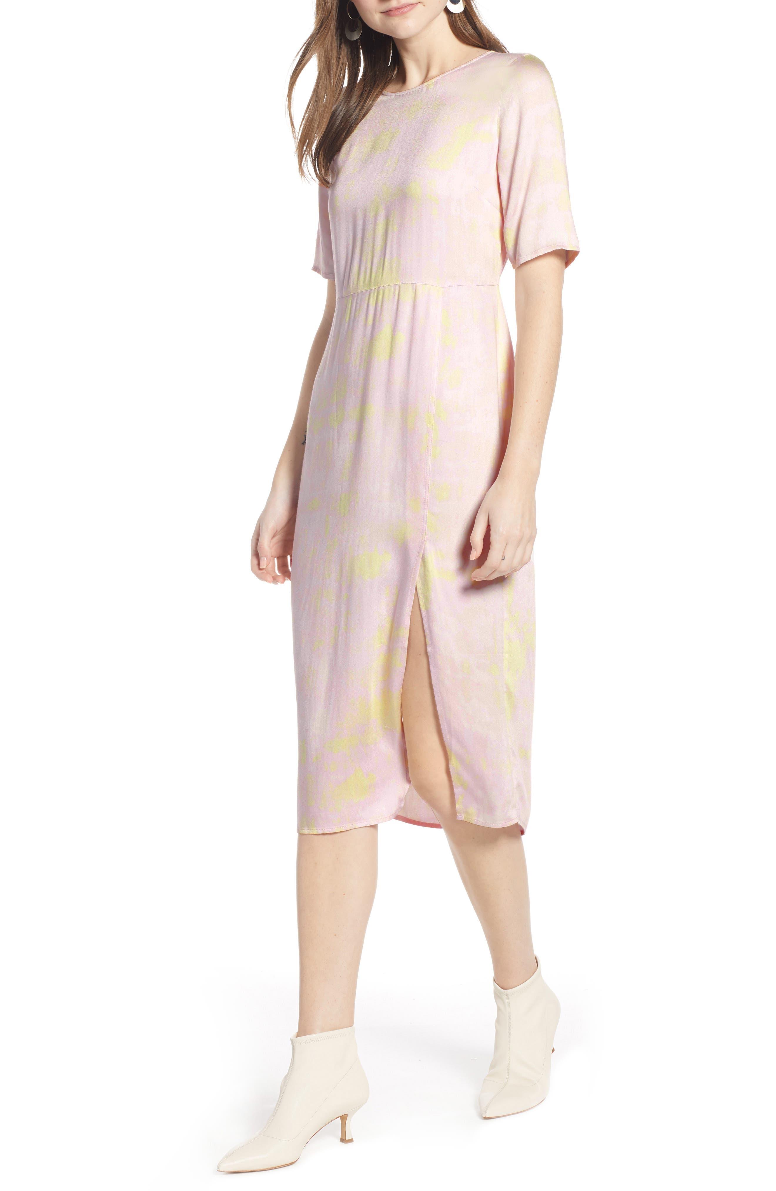 SOMETHING NAVY, Front Slit Midi Dress, Main thumbnail 1, color, 680