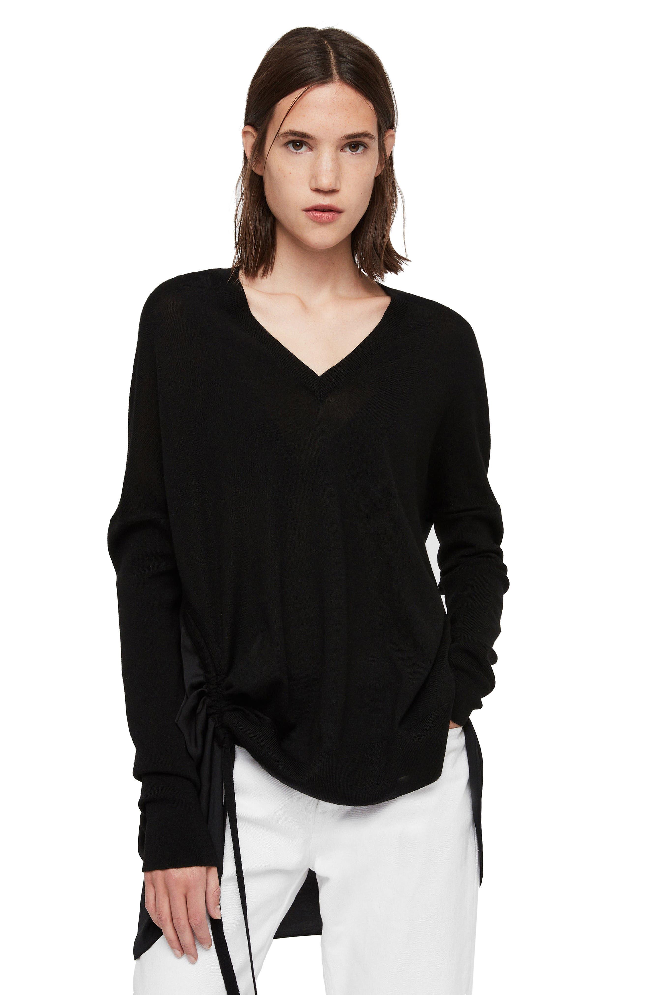 ALLSAINTS, Moira V-Neck Sweater, Alternate thumbnail 2, color, 001